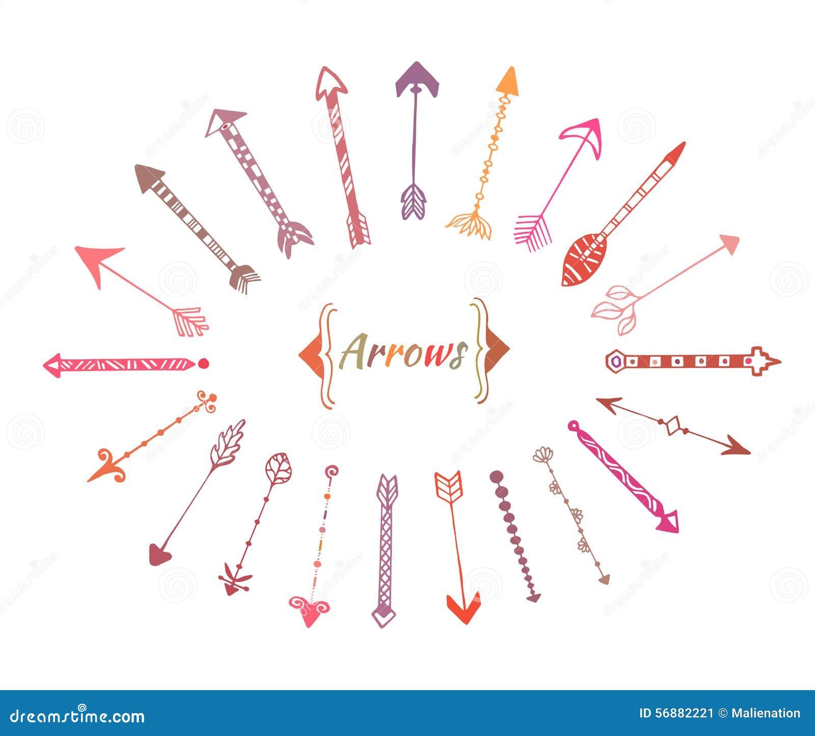 Frecce disegnate a mano impostate Elementi variopinti etnici di vettore per la decorazione dell invito