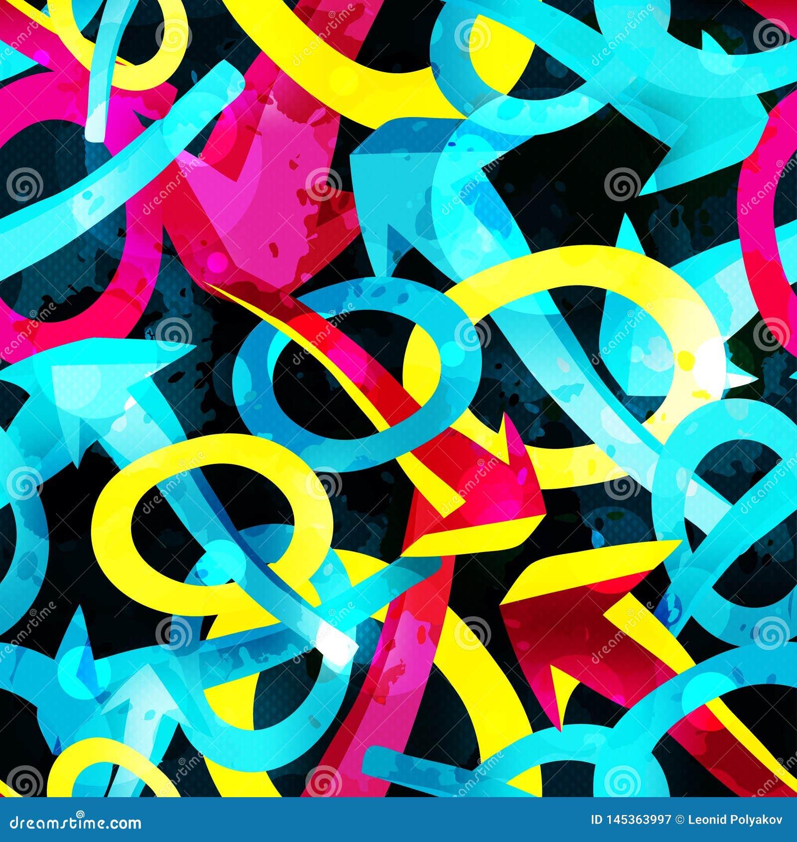 Frecce e cerchi su un graffito senza cuciture del modello dell estratto nero del fondo