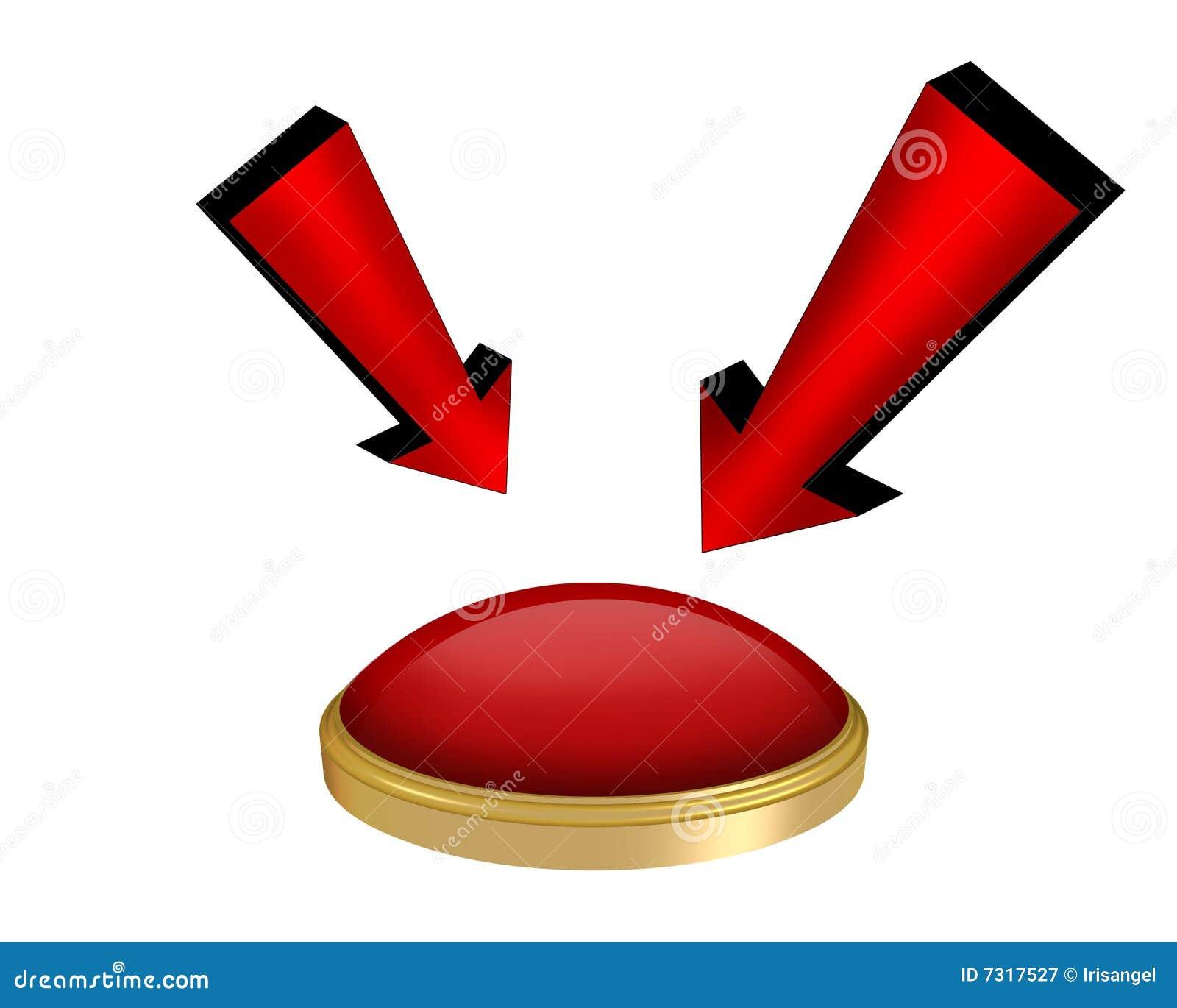 Frecce e grafico del tasto rosso 3D isolato