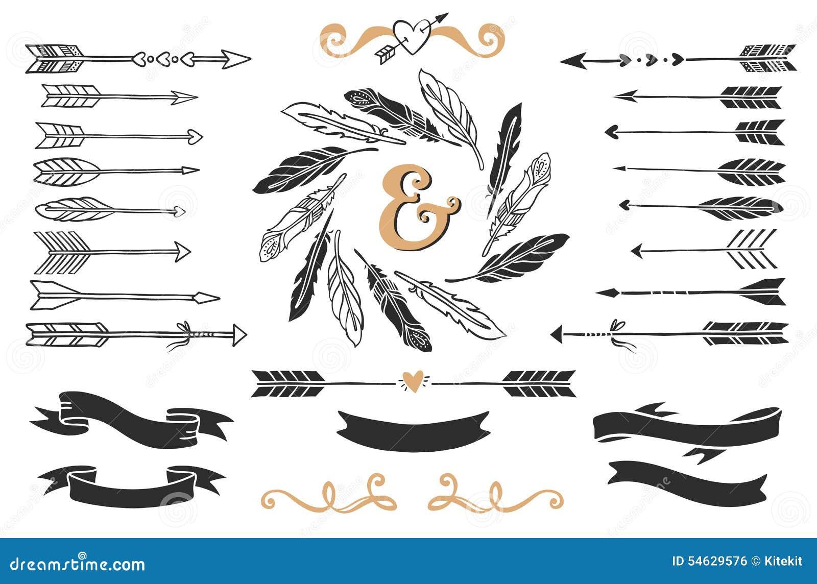 Frecce, piume e nastri d annata disegnati a mano con iscrizione