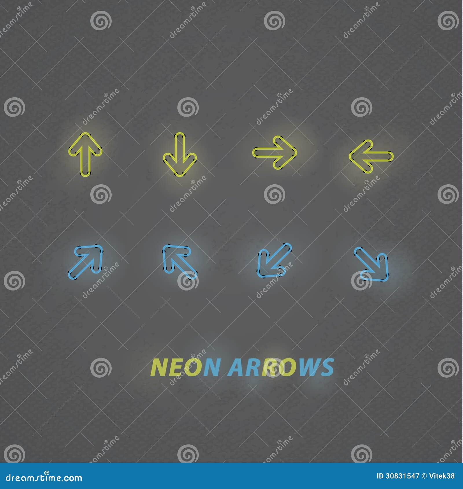 Frecce stilizzate del neon di vettore. Navigazione di progettazione moderna con buio