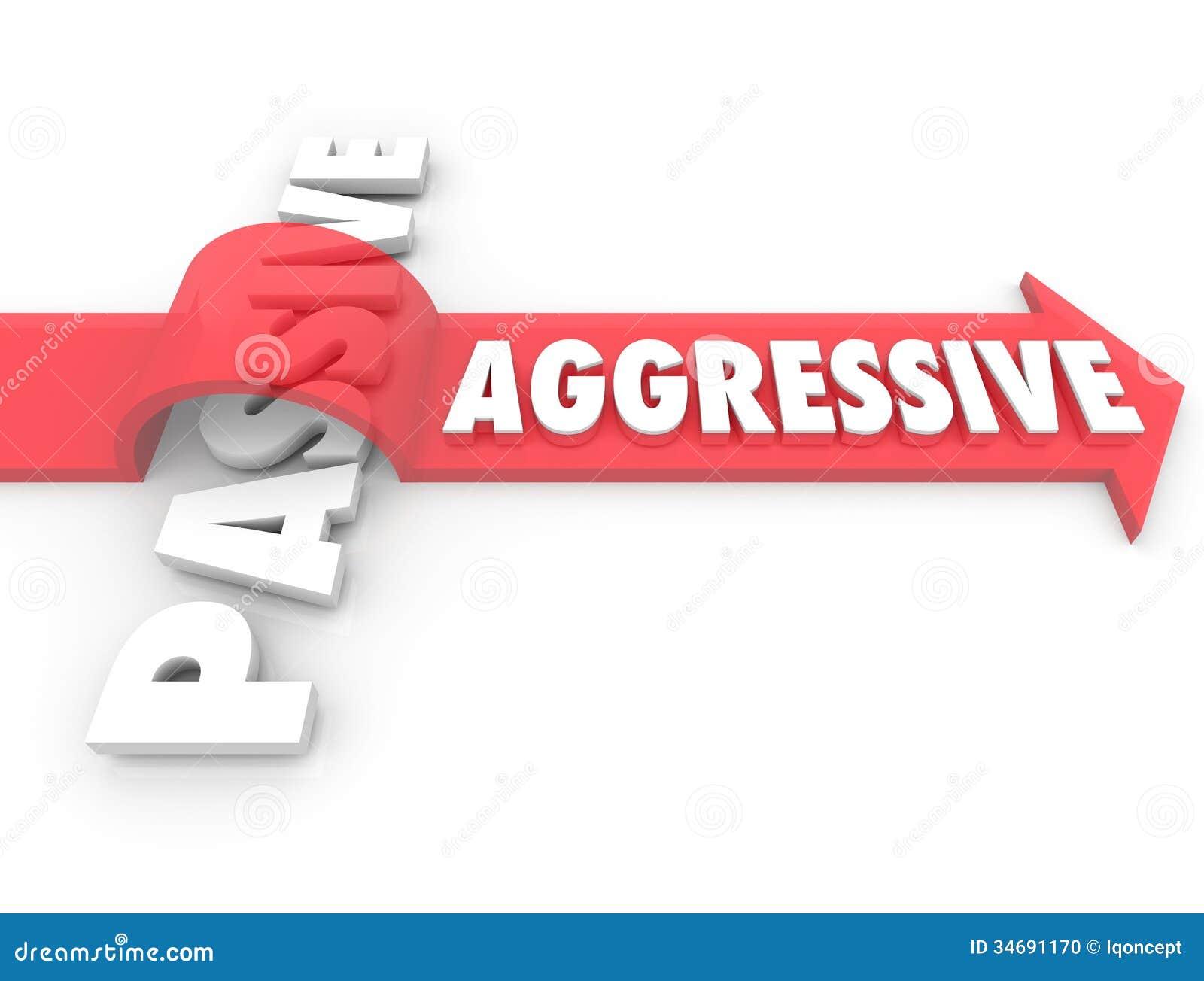 Freccia aggressiva sopra azione passiva di parola contro l atteggiamento di inerzia