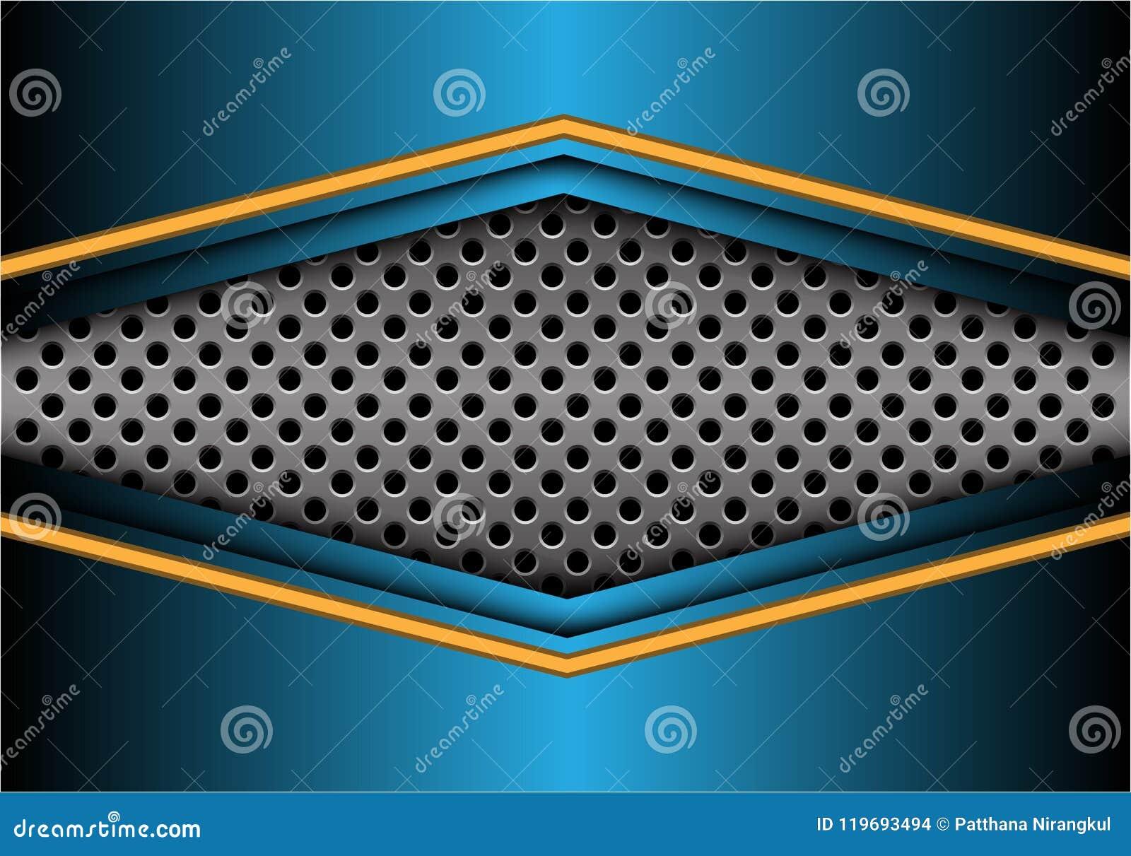 Freccia blu gialla astratta del metallo sul vettore futuristico moderno del fondo di progettazione dell insegna della maglia del
