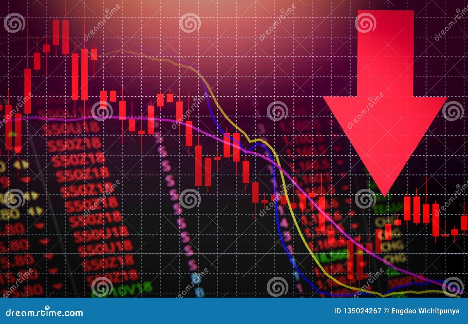 Freccia rossa di prezzo di mercato di crisi delle azione giù la caduta del grafico/l analisi di mercato borsa valori o il grafico