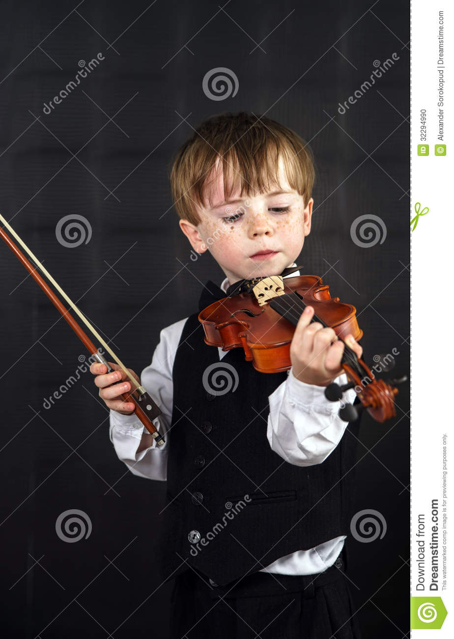 Freckled Red-hair Boy Playing Violin  Stock Photo - Image of