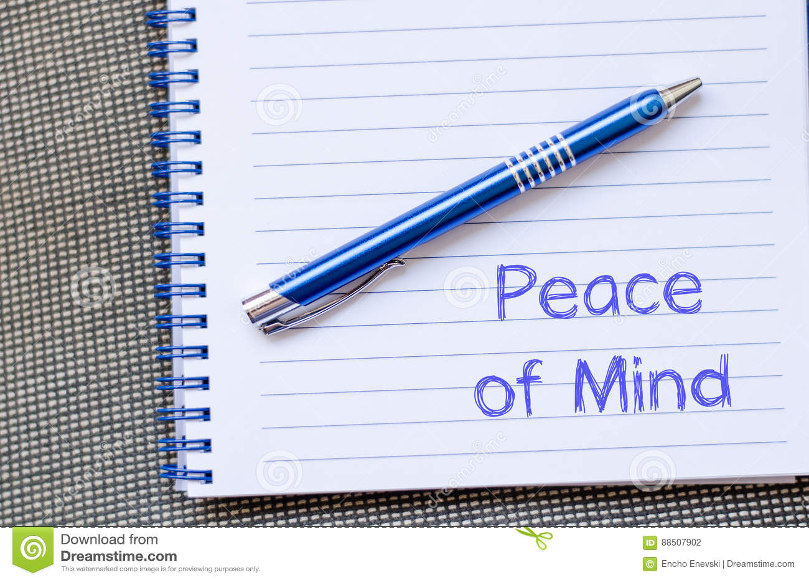 Fred av meningen skriver på anteckningsboken