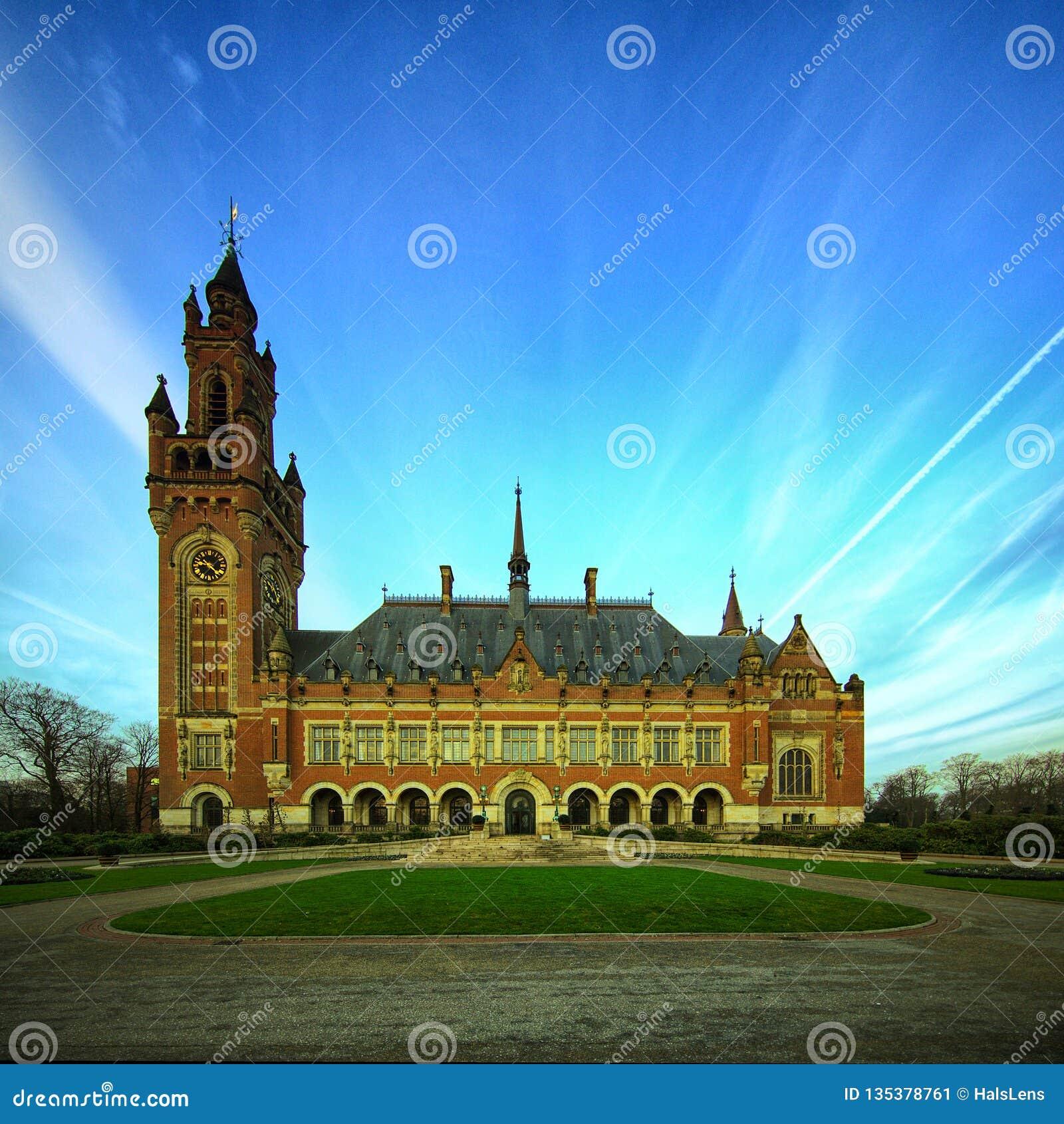Fred för slott för domstolhague internationell rättvisa