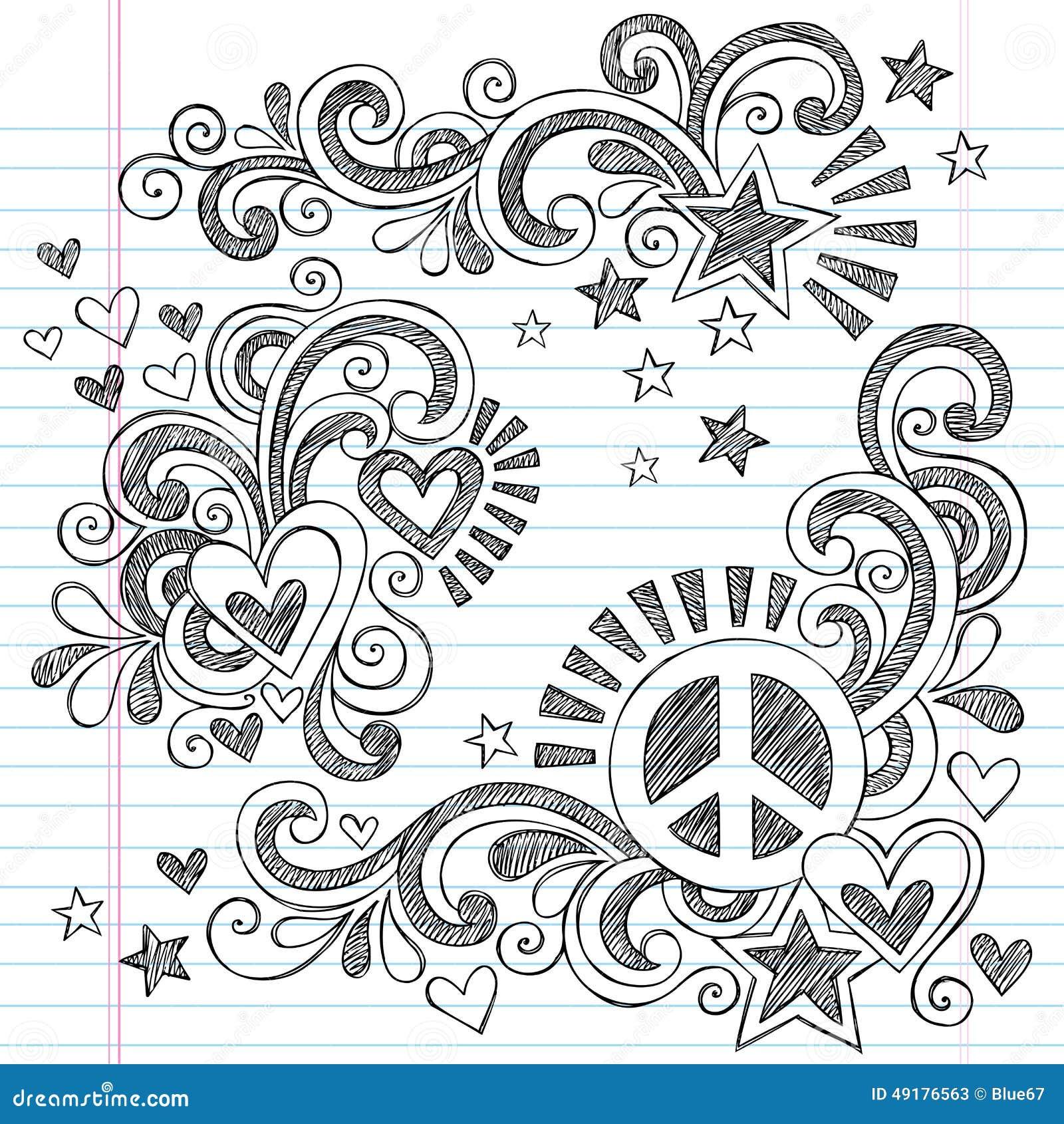 Fred och förälskelse tillbaka till för anteckningsbokklotter för skola den knapphändiga illustrationen för vektor