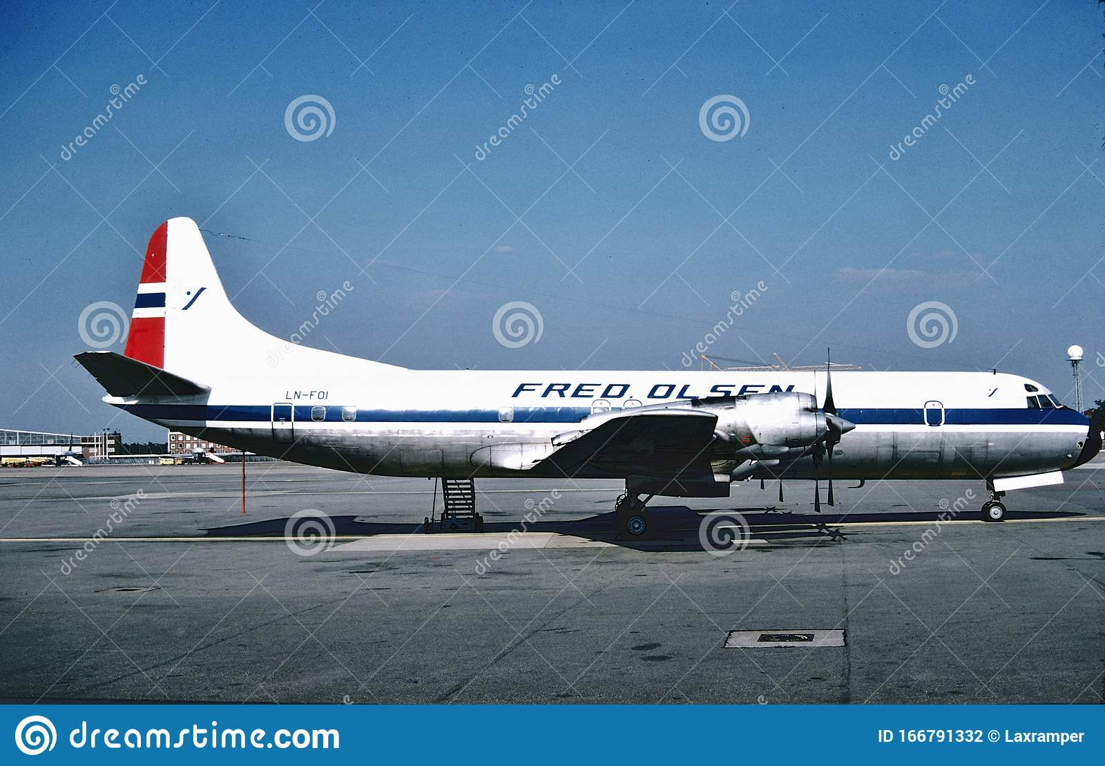 Fred Olsen Air Transport Lockheed Electra L-188F At Hamburg , Germany In  1978 Editorial Photography - Image of airport, fred: 166791332