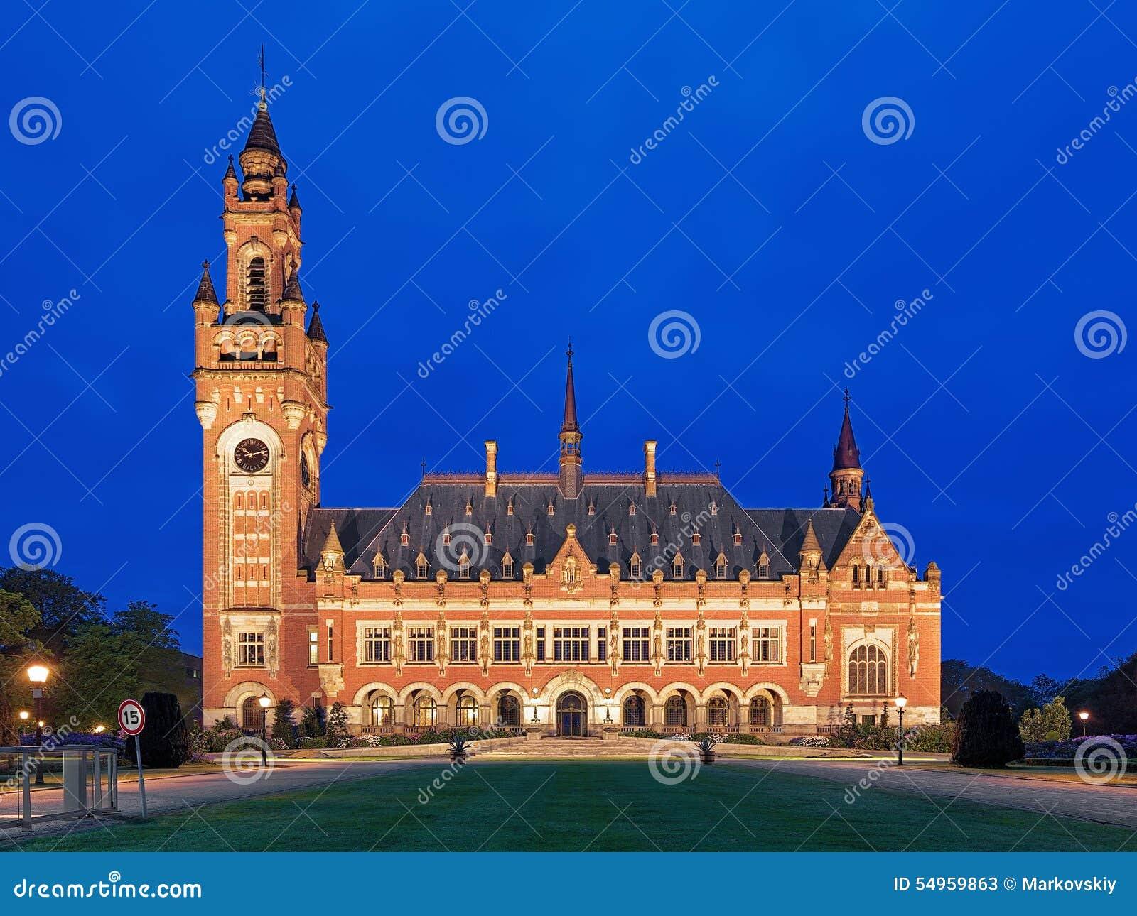 Fredslotten på aftonen i Haag, Nederländerna