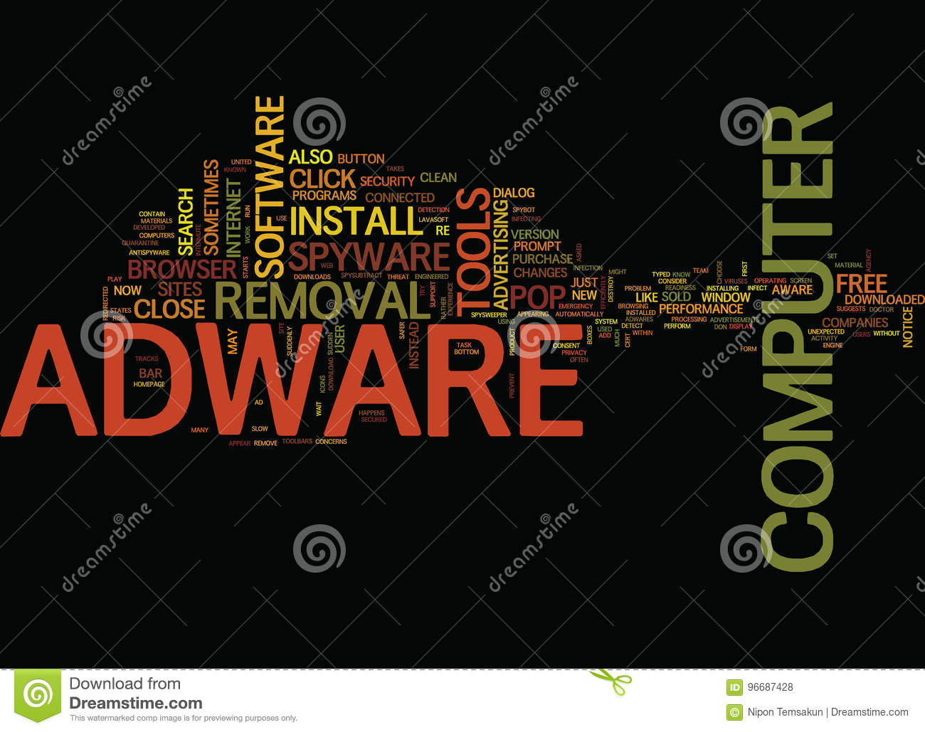 Free Adware Removal Text Background Word Cloud Concept Stock