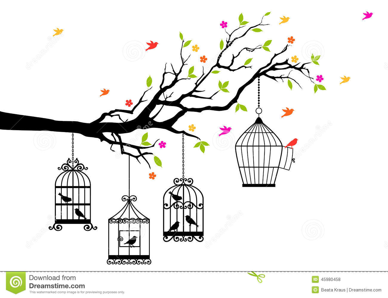 Open Birdcage Silhouette Free birds and birdcages