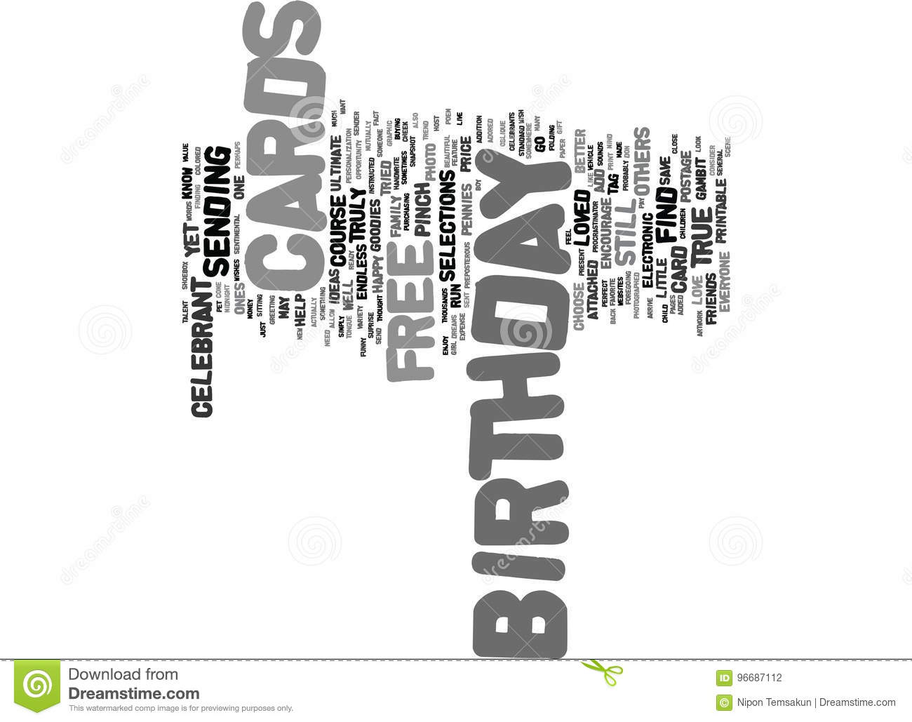 Free Birthday Cards Text Background Word Cloud Concept Illustration