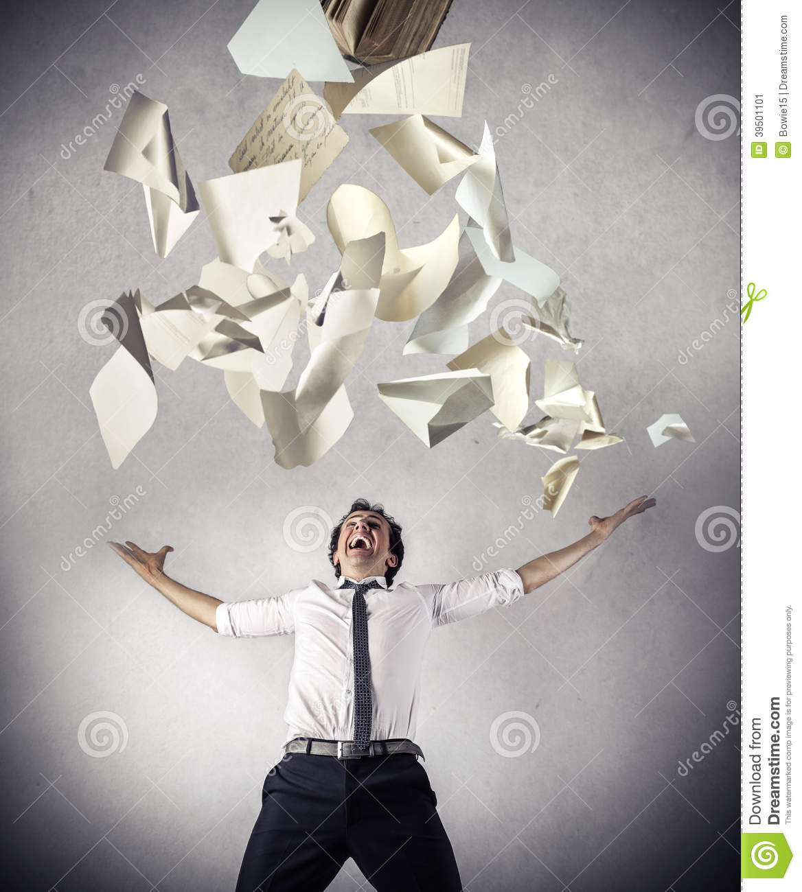 Free businessman throwing up some papers