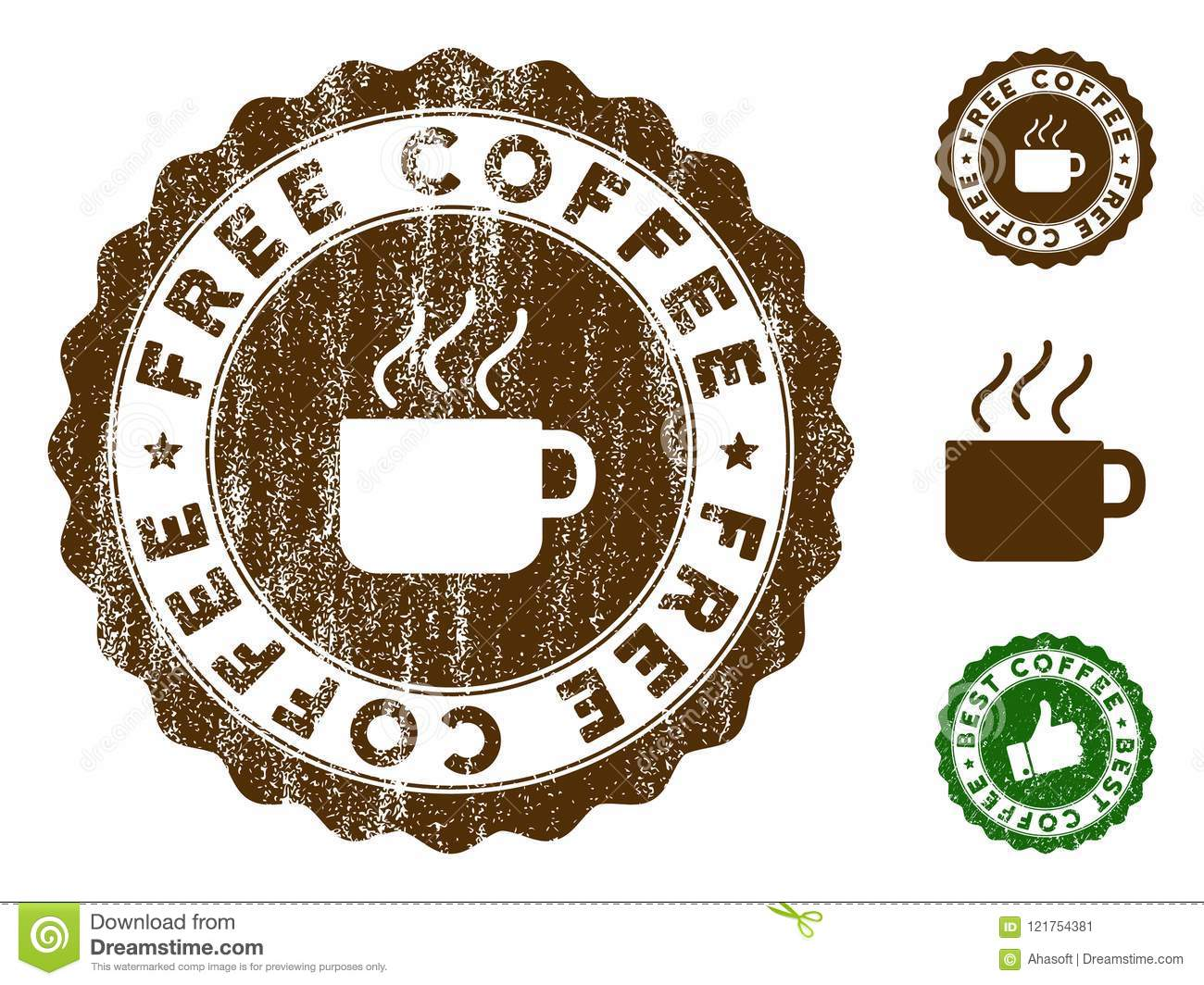 Free Coffee Stamp Seal With Grungy Surface Stock Vector
