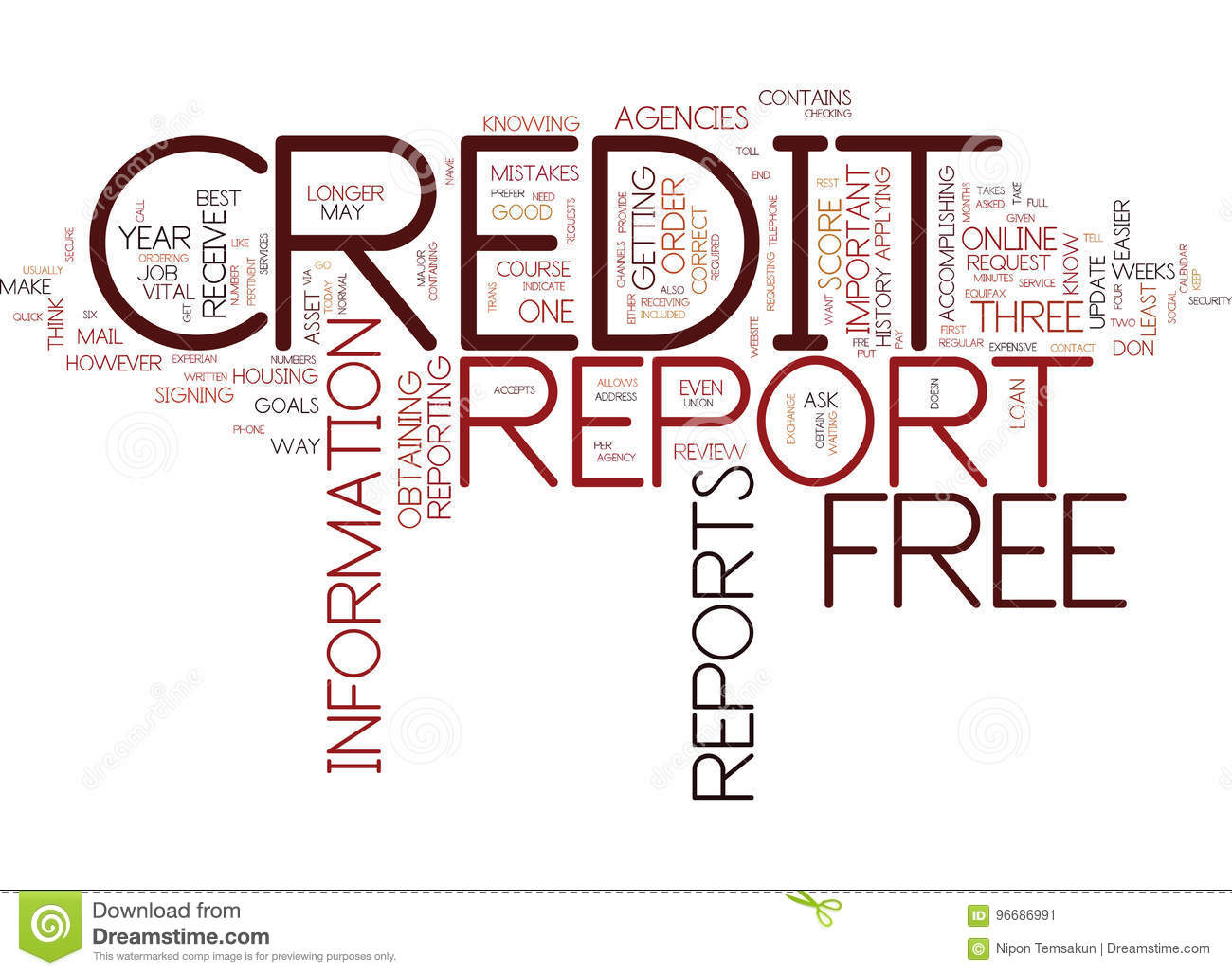 Free Credit Reports >> Free Credit Reports Text Background Word Cloud Concept Stock