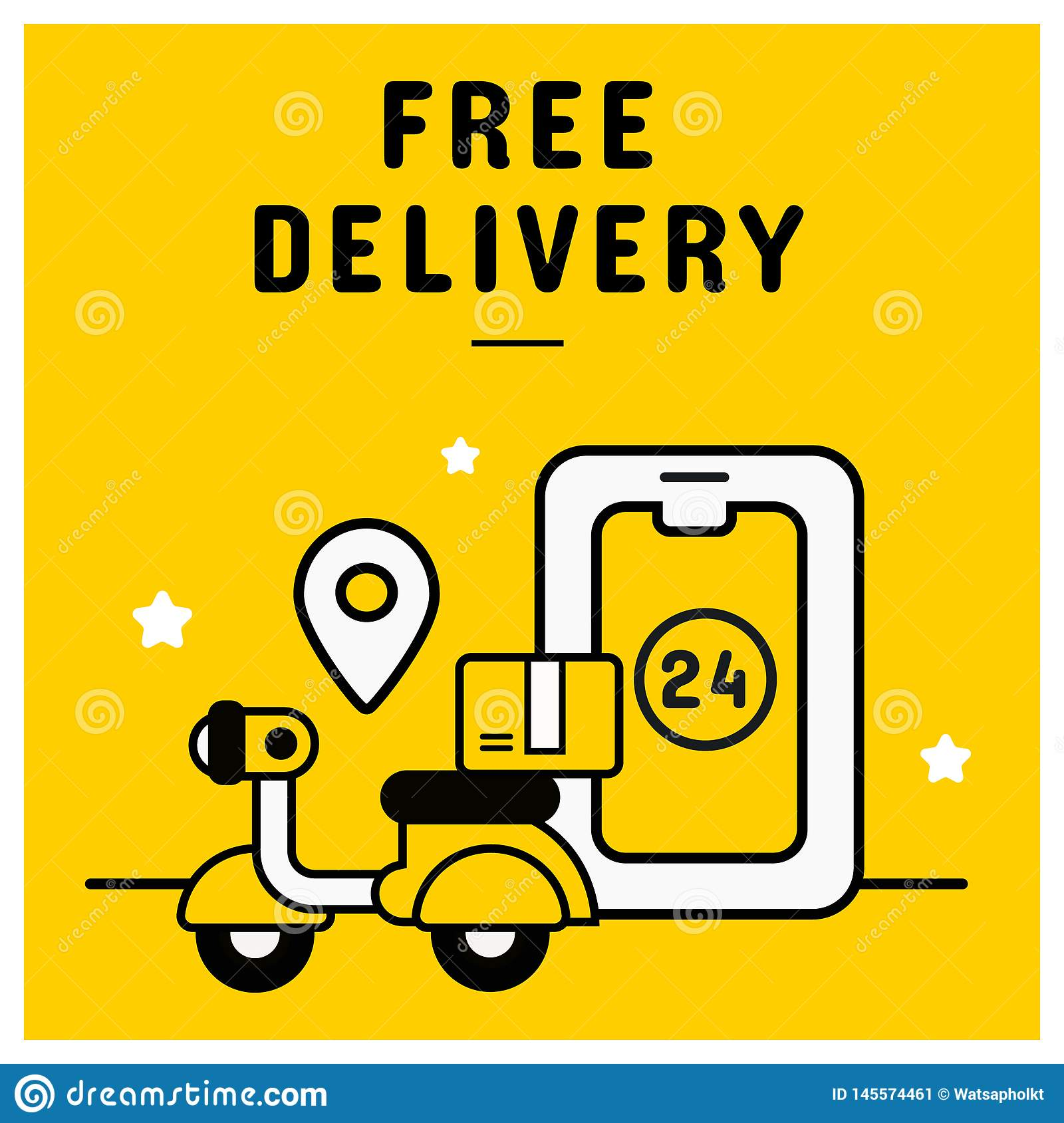 Free Delivery Banner From Online Shopping Concept Stock