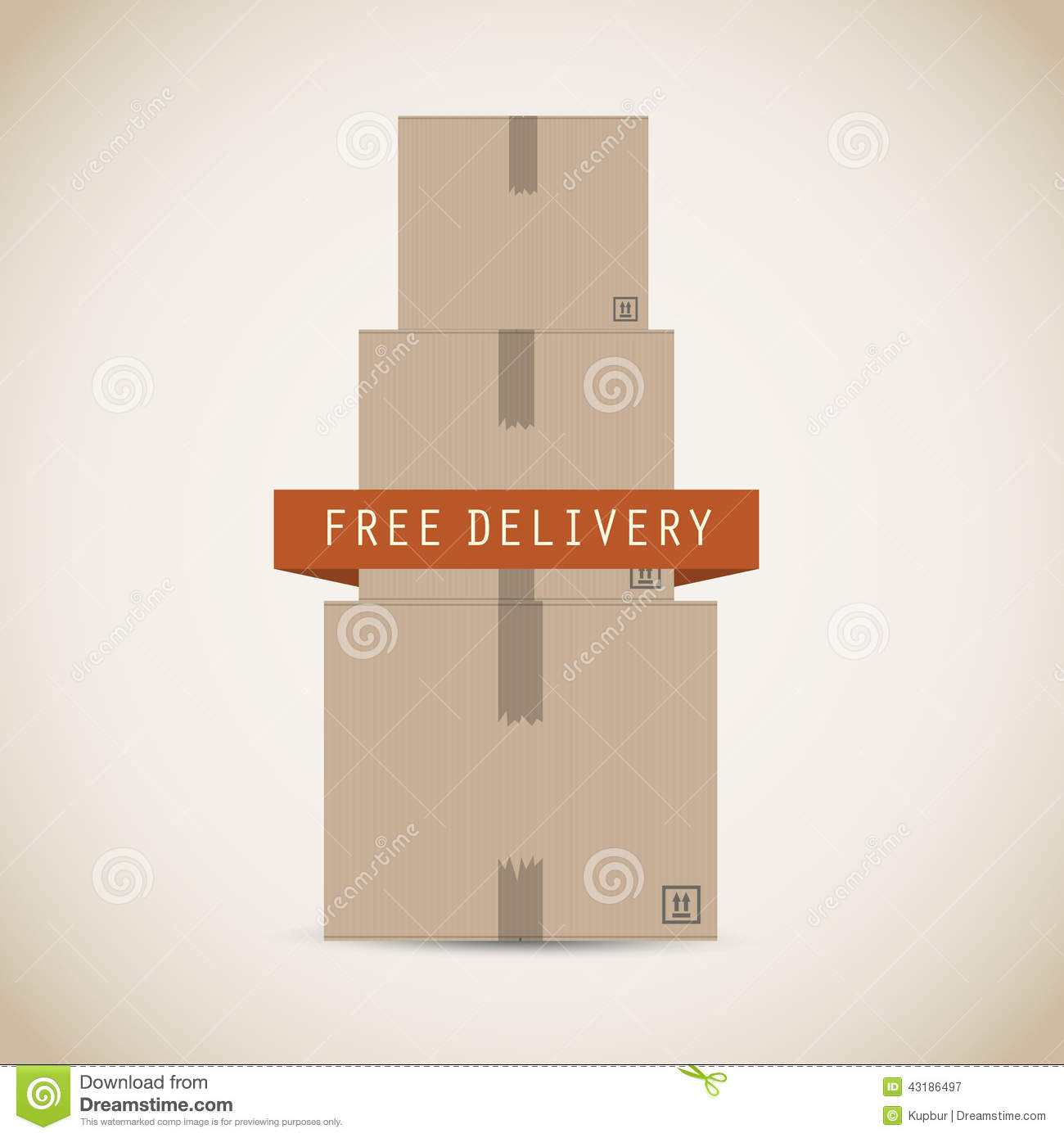 Download Free Delivery Cardboard Boxes Stock Vector - Illustration of surface, paper: 43186497