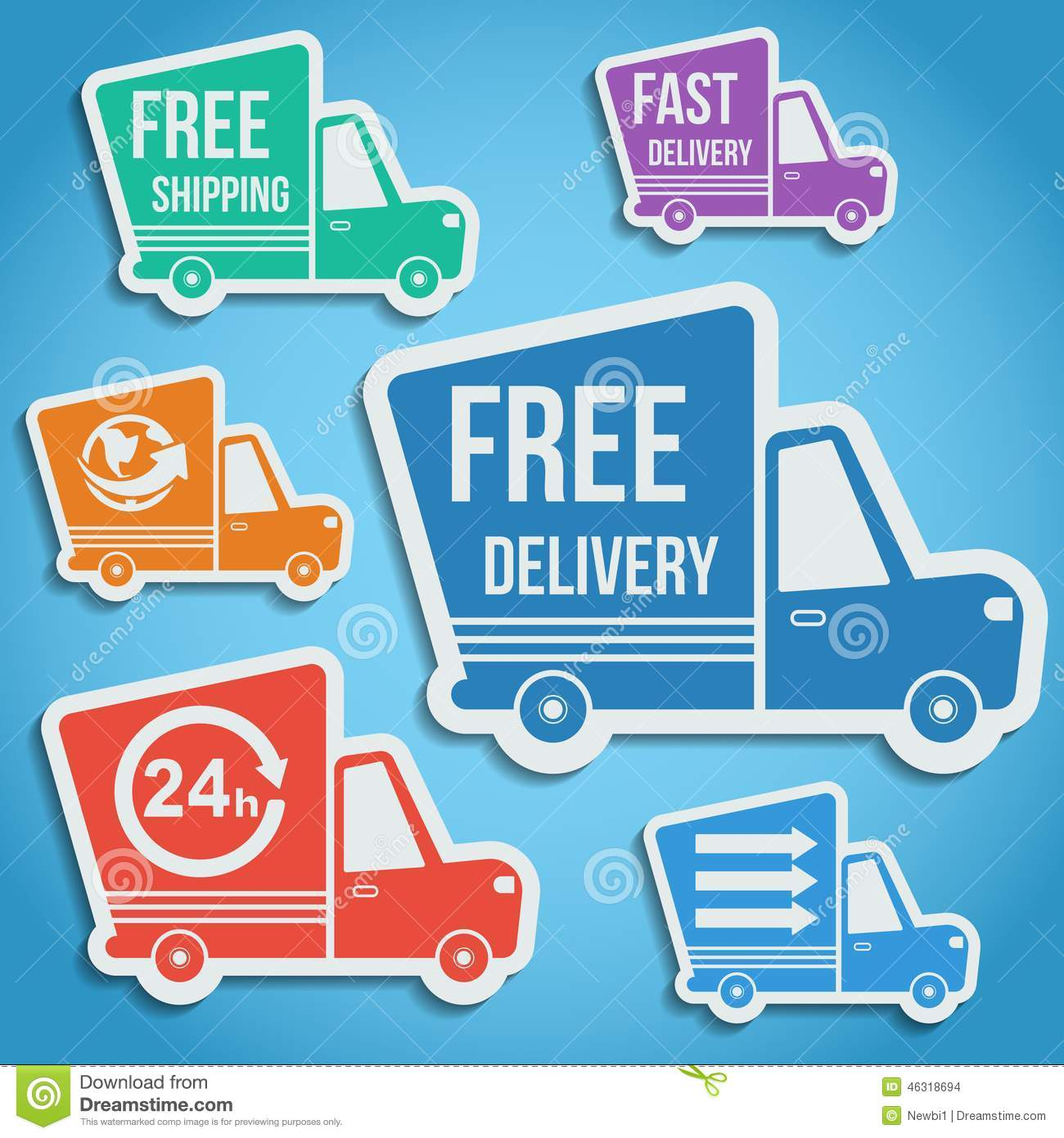 Shipping Delivery: Free Delivery, Fast Delivery Icons Set. Vector. Stock
