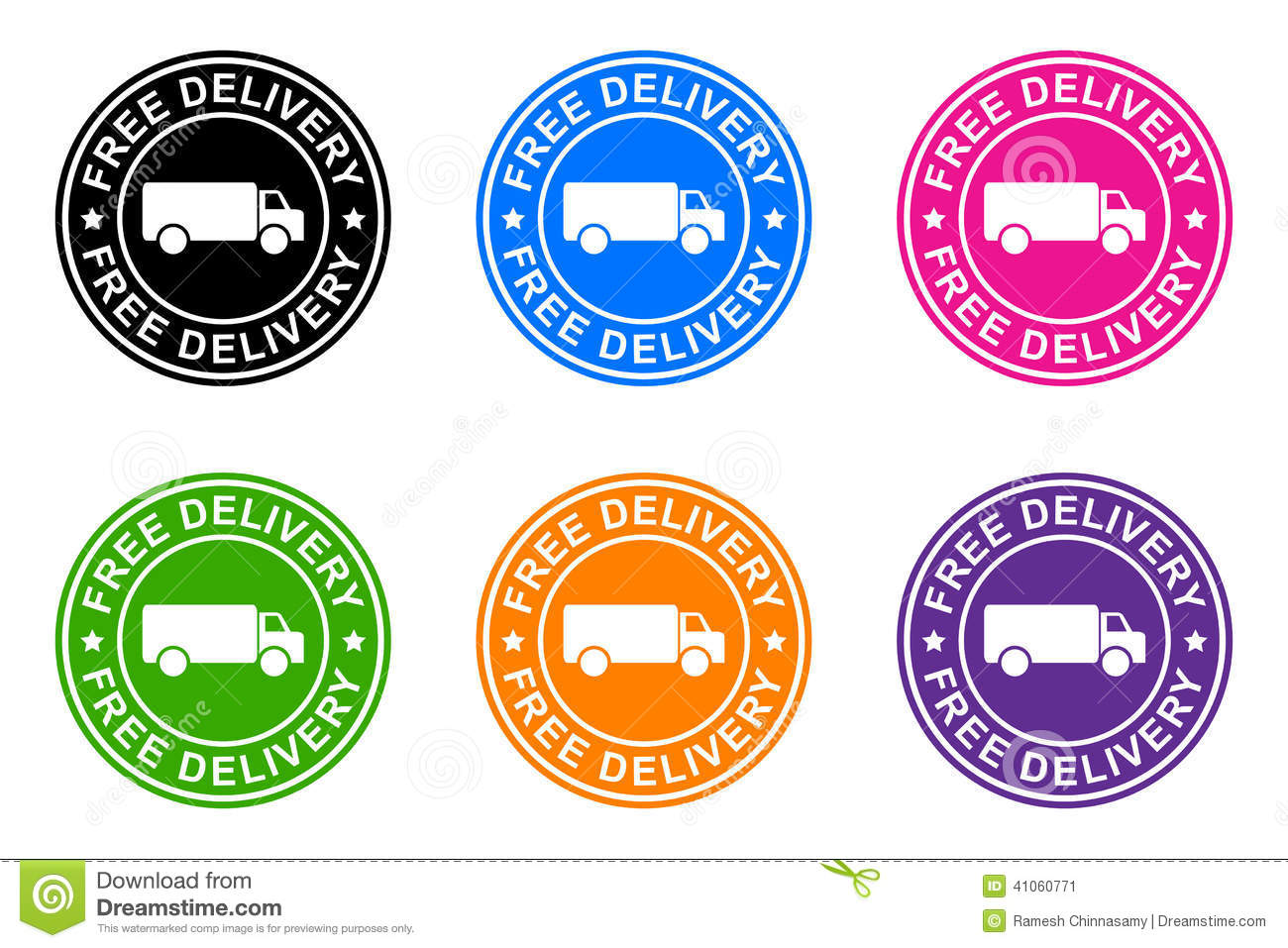 Free delivery sticker on the white background