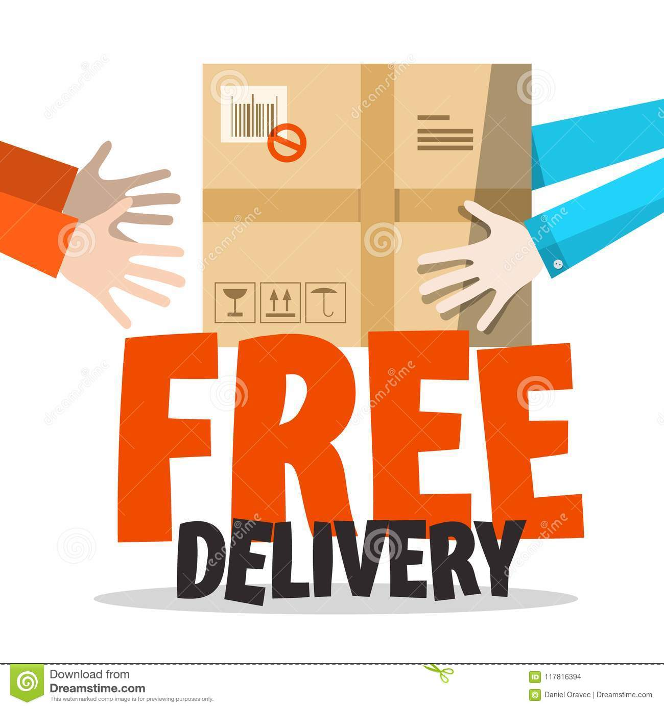 Free Delivery Symbol with Parcel in Human Hands