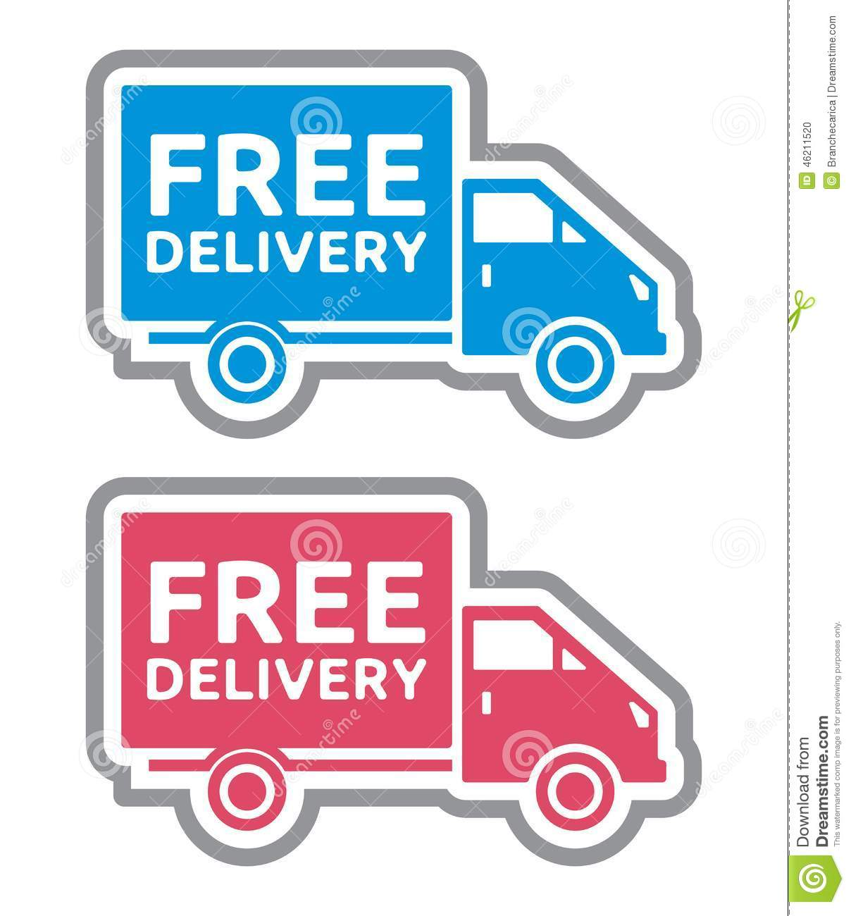 Shipping Delivery: Free Delivery Label Stock Photo