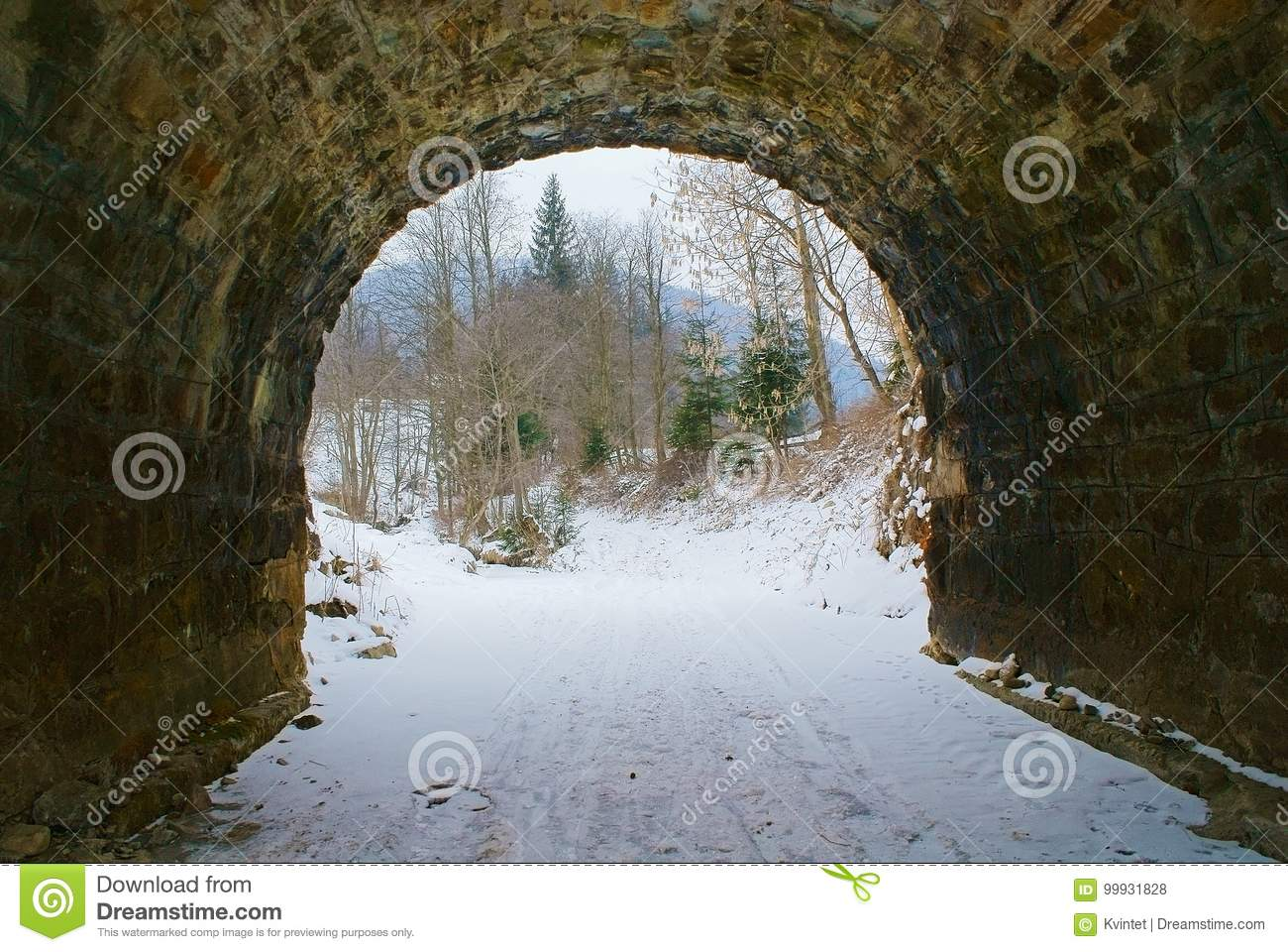 Exit from old stone tunnel to forest