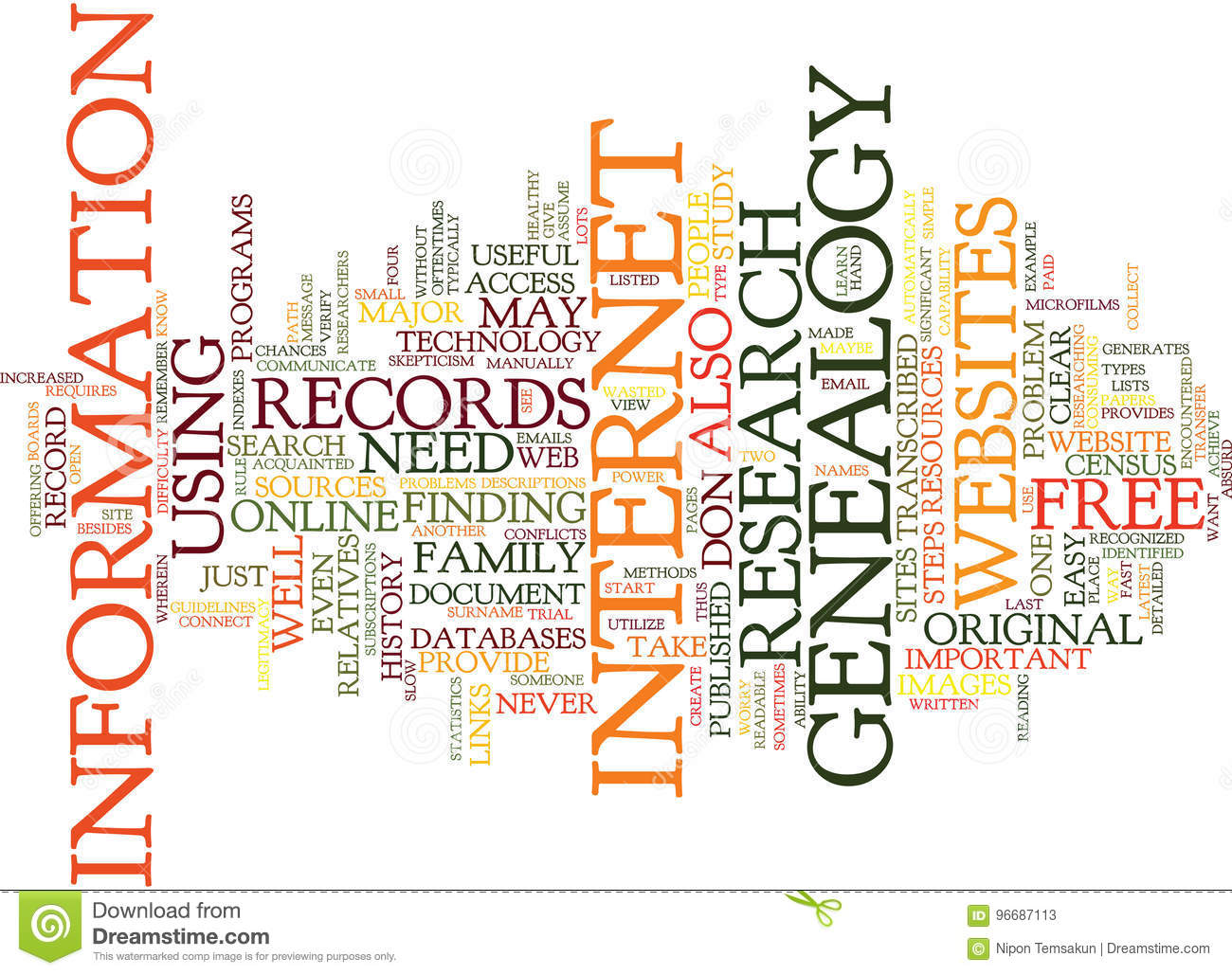 Free Genealogy Text Background Word Cloud Concept Stock Illustration