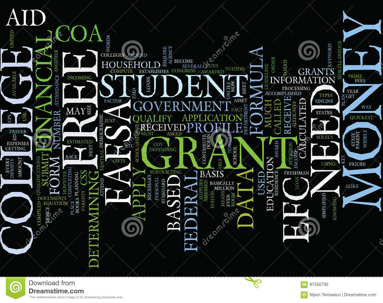 Grants For College >> Free Grant Money For College Word Cloud Concept Stock