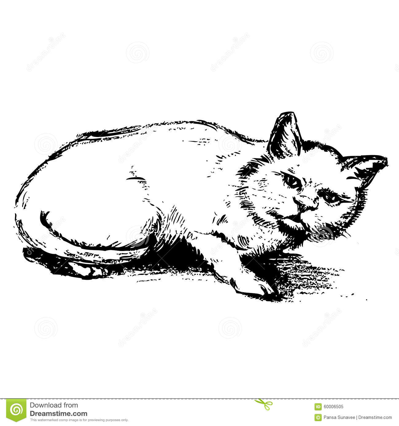 Free hand sketch of cat hand drawn stock illustration for Sketch online free