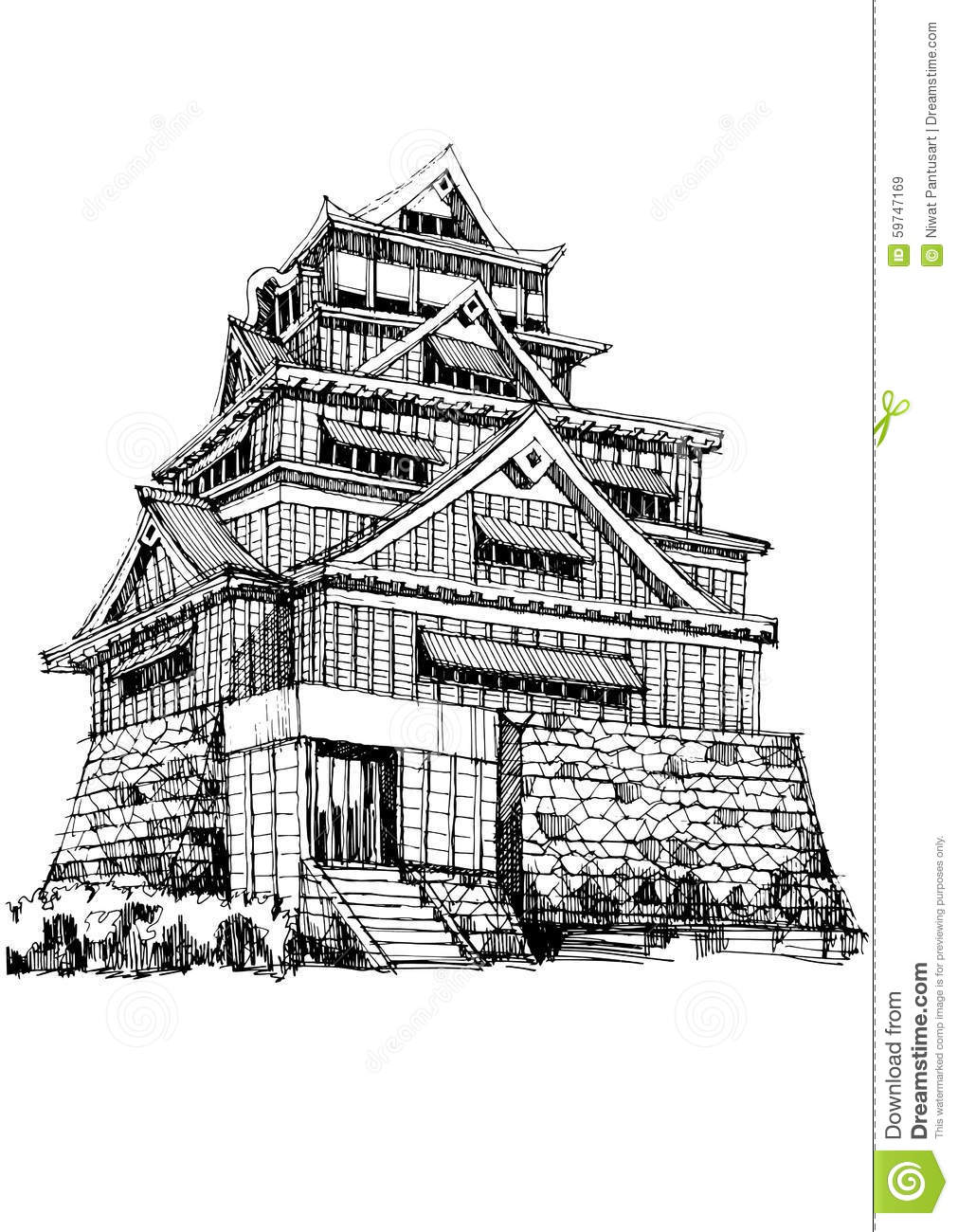 Free Hand Sketch World Famous Landmark Kumamoto Castle