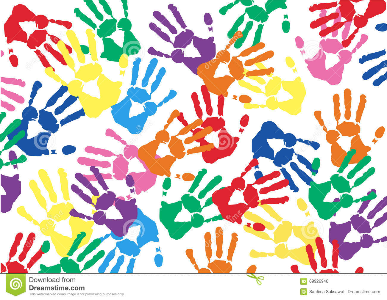 Free Hands Prints Colorful Vector Background Stock Vector