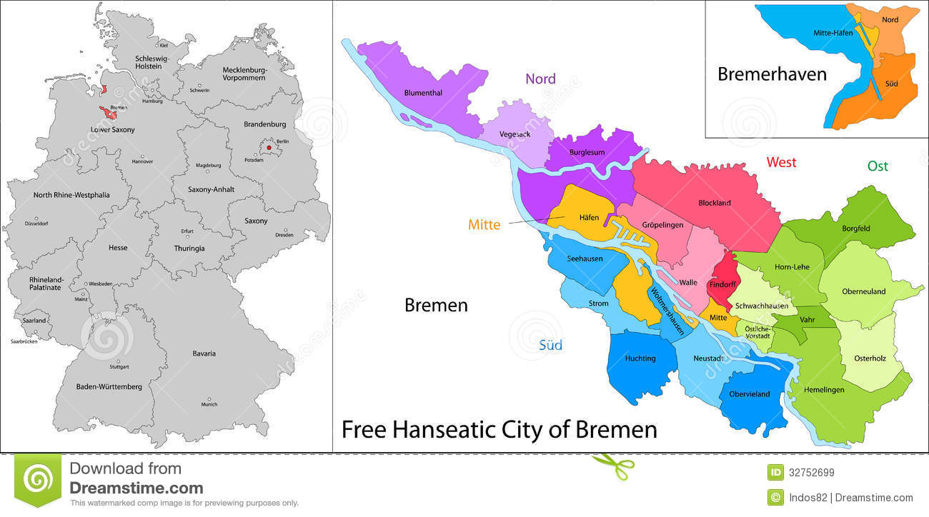 Free Hanseatic City Of Bremen Royalty Free Stock Images Image - Germany map bremen