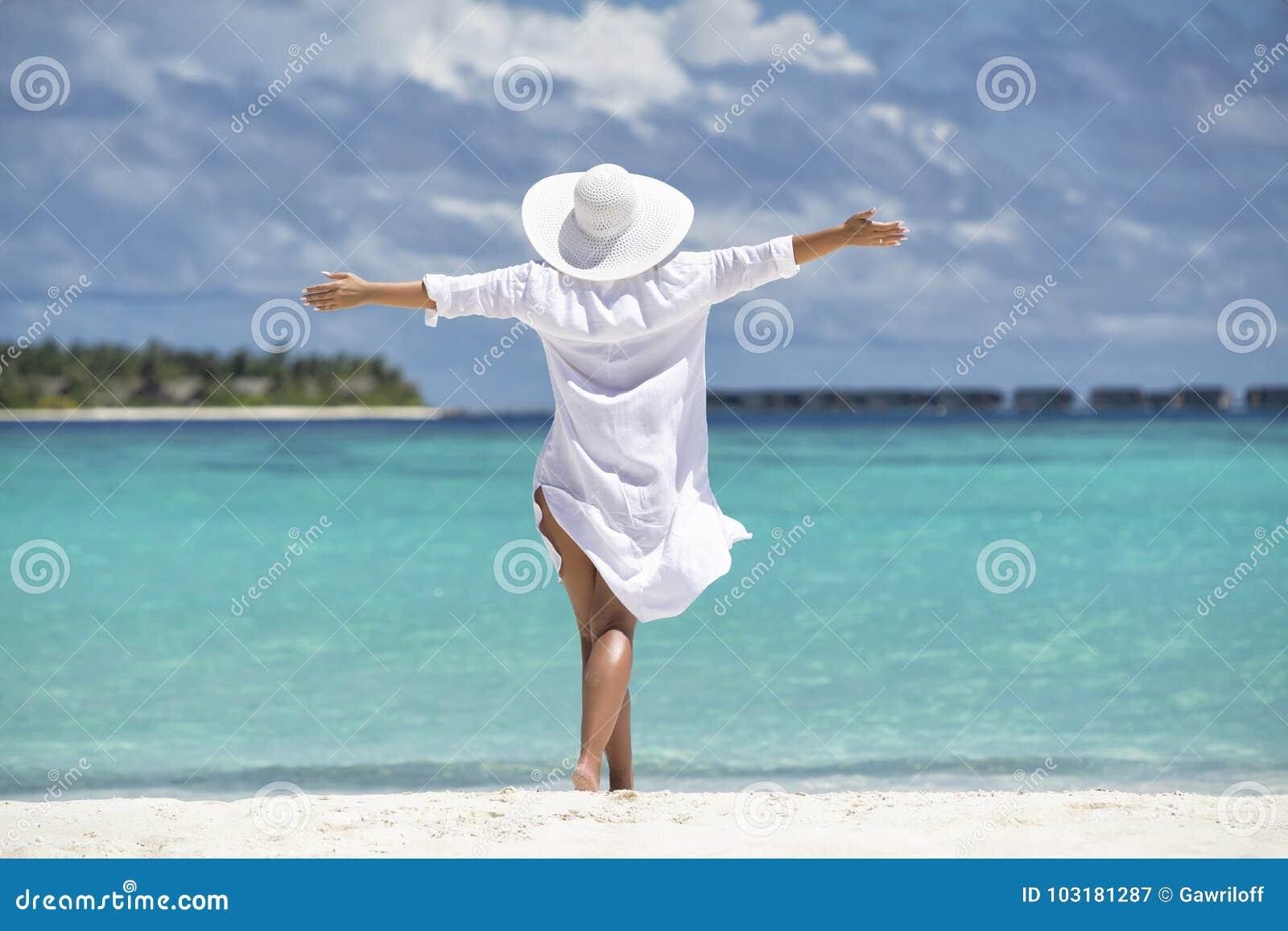 Free Happy Woman On Beach Enjoying Nature Natural Beauty Girl O Stock Image Image Of Female Free 103181287