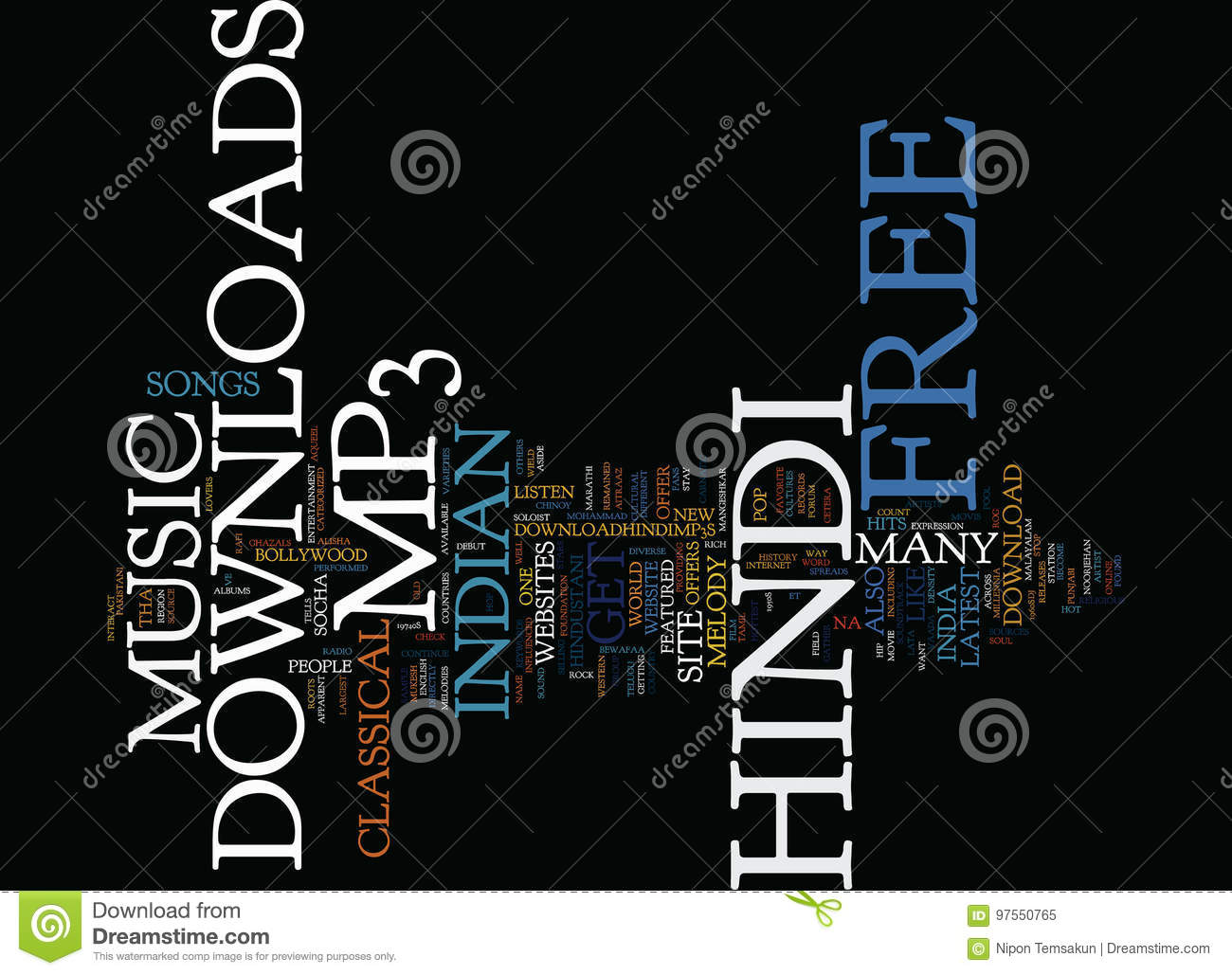 Free Hindi Mp Downloads Word Cloud Concept Stock Illustration