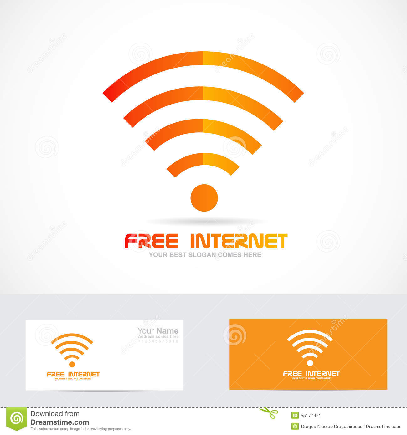 free internet wifi logo wireless icon stock vector image 55177421. Black Bedroom Furniture Sets. Home Design Ideas