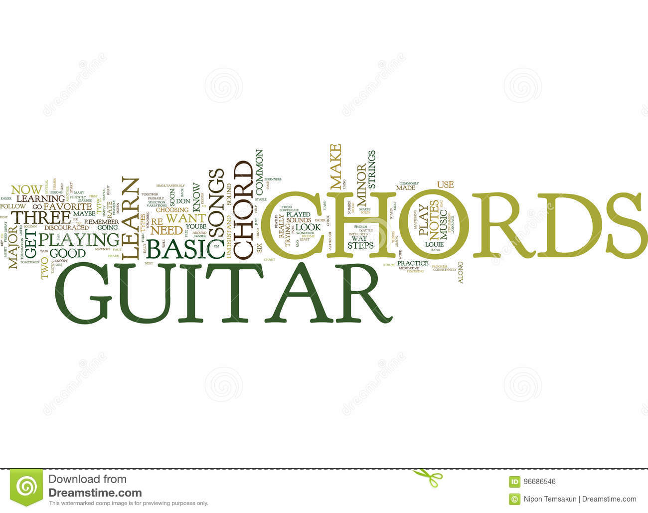 Free Lesson On Basic Guitar Chords Text Background Word Cloud