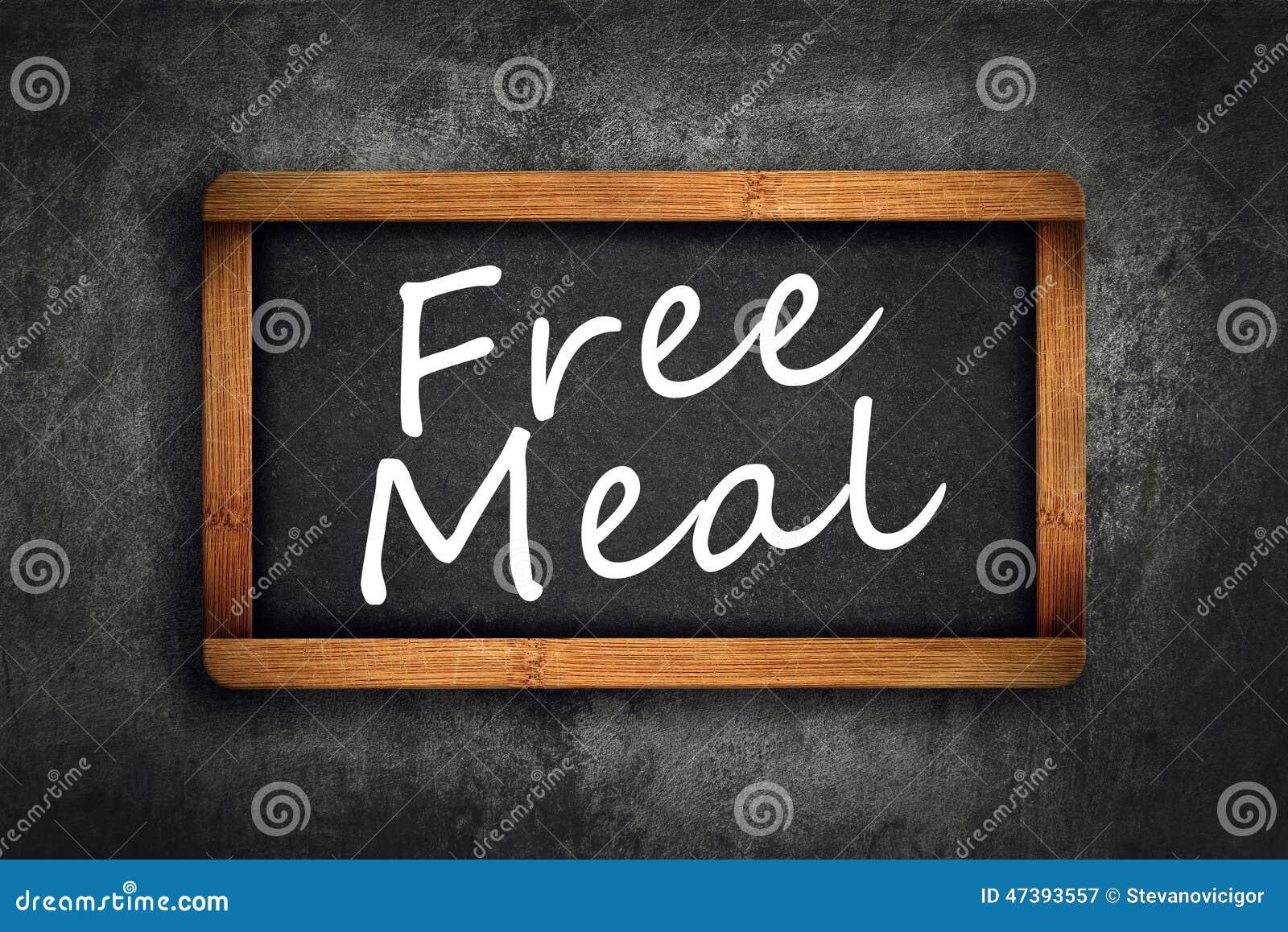 Free Meal Title On Restaurant Slate Chalkboard Stock Photo