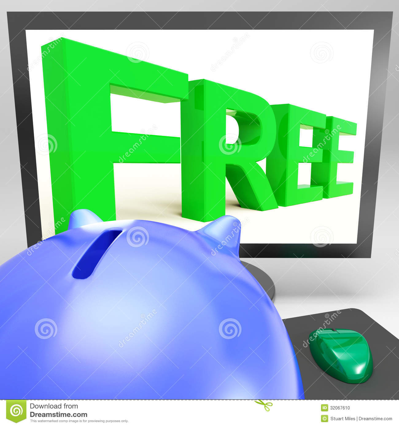 Free On Monitor Showing Gratuity Stock Illustration