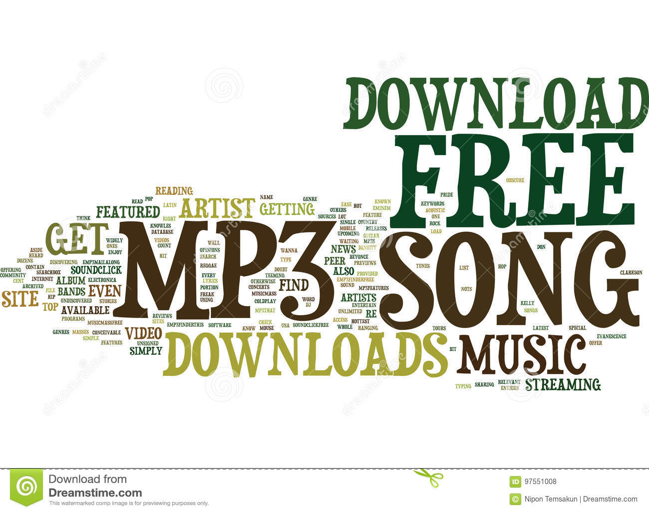 Free mp song download word cloud concept stock illustration.