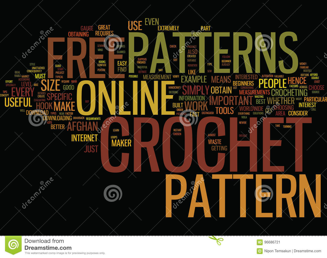 Free Online Crochet Patterns Text Background Word Cloud