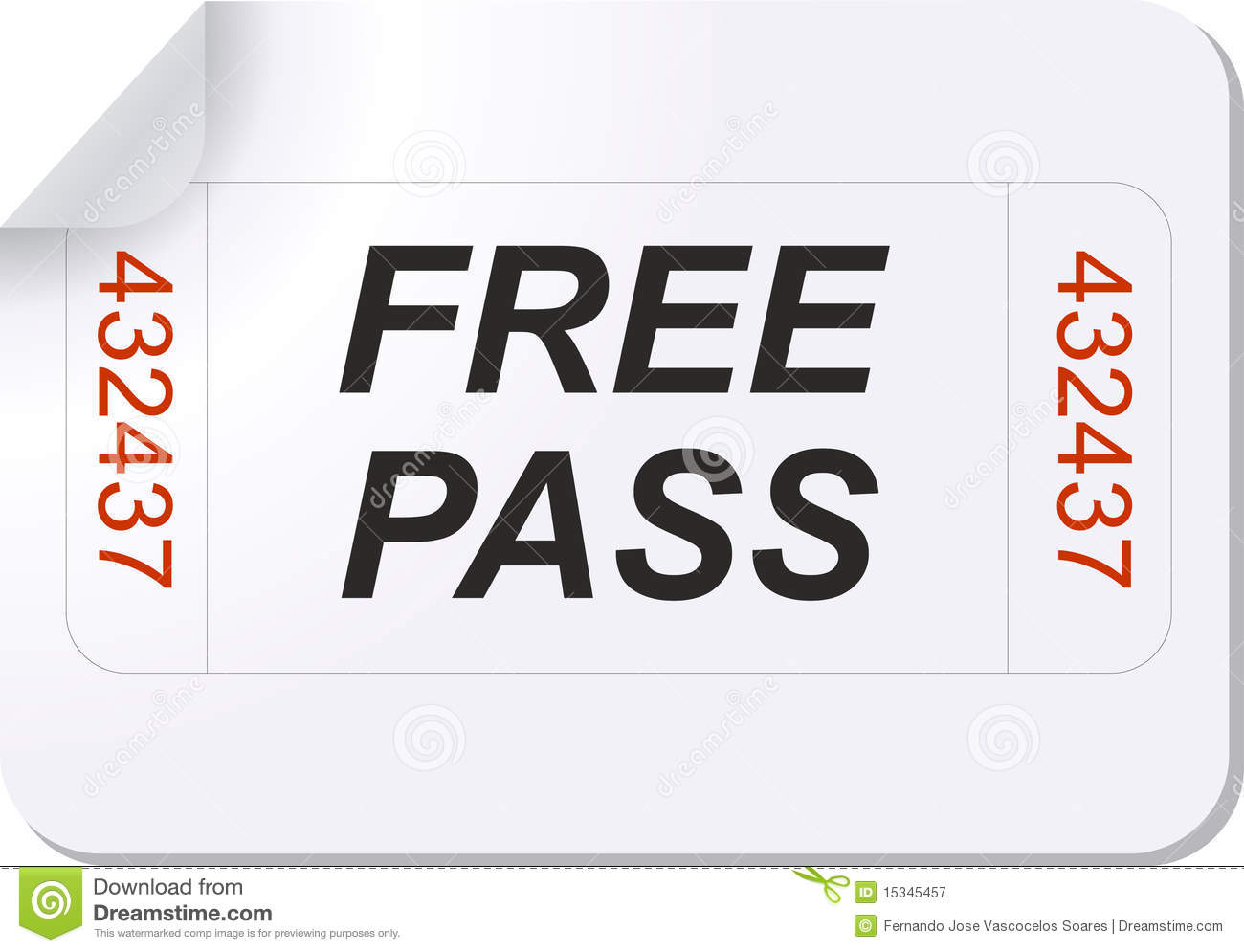 Free Pass Ticket Royalty Free Photography Image 15345457 – Free Pass Template