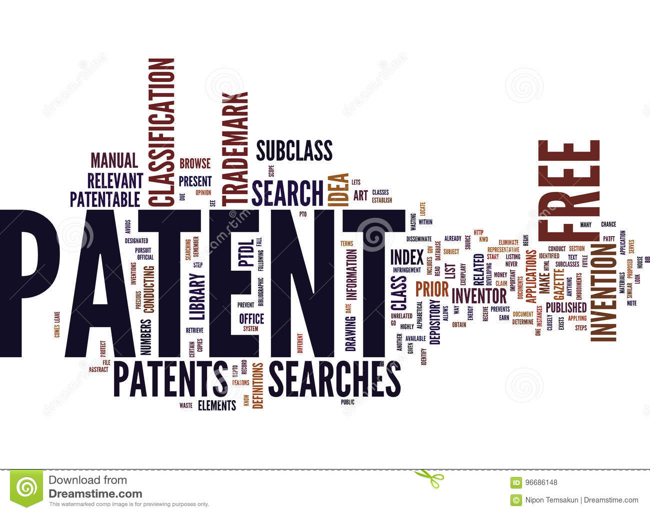 free patent text background word cloud concept stock illustration