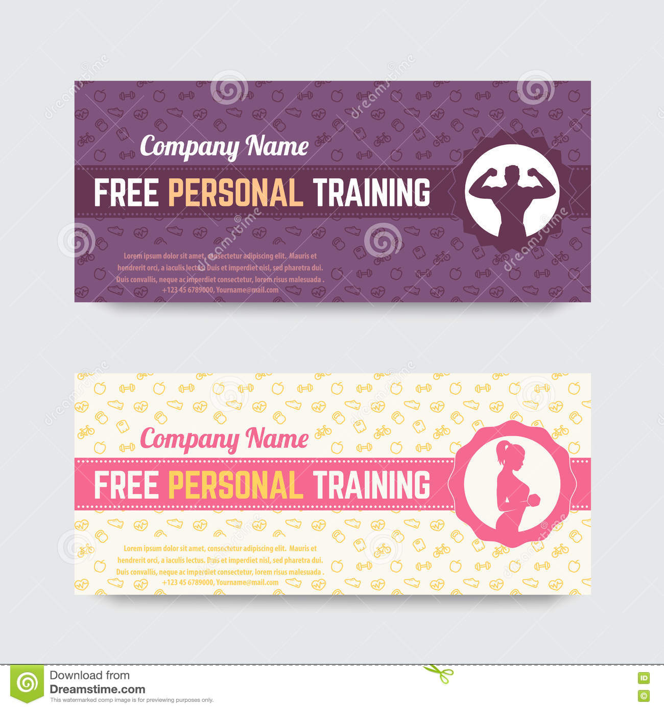 free personal training gift voucher design for gym fitness club