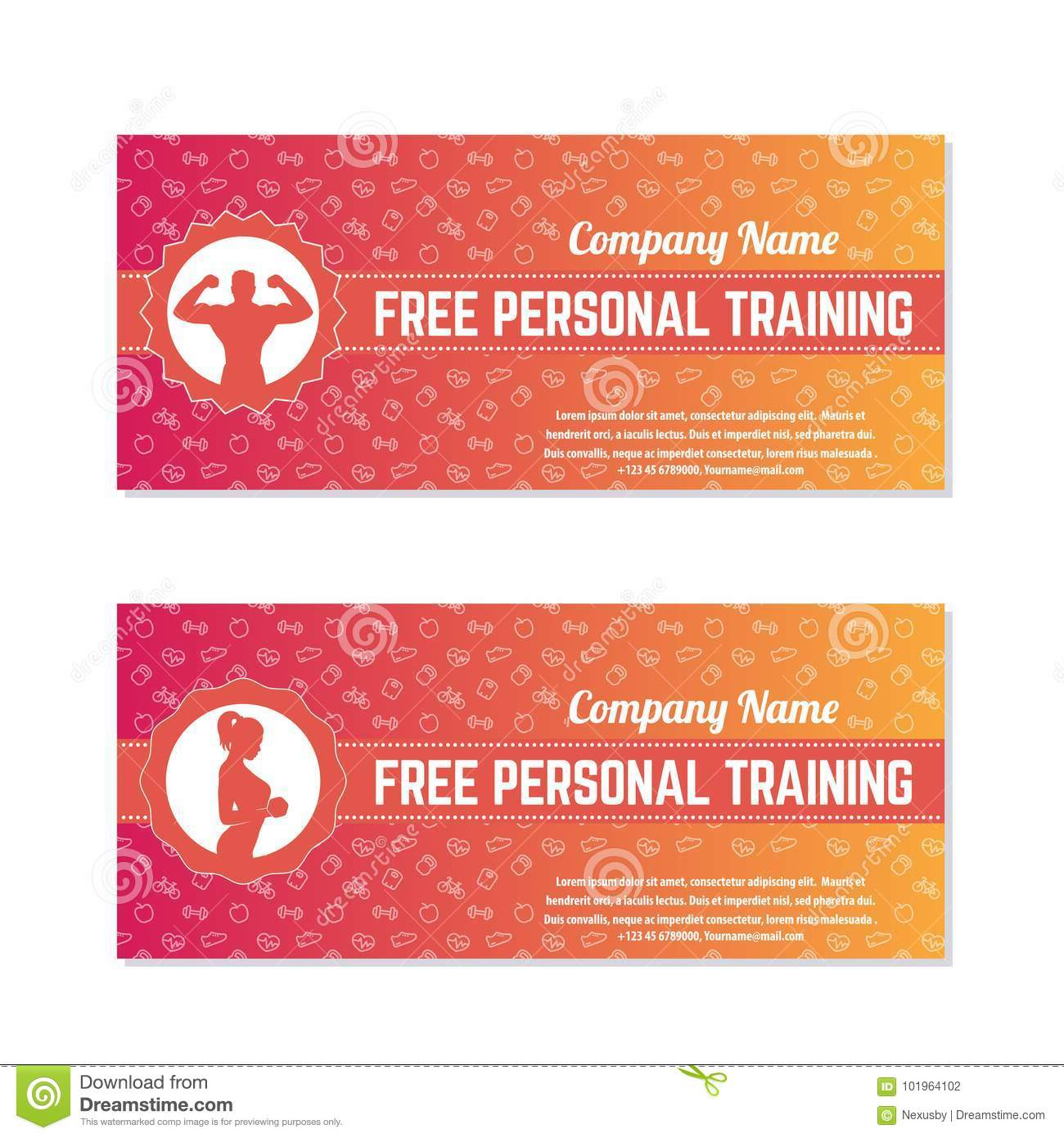 Free Personal Training Gift Vouchers Stock Vector Illustration Of