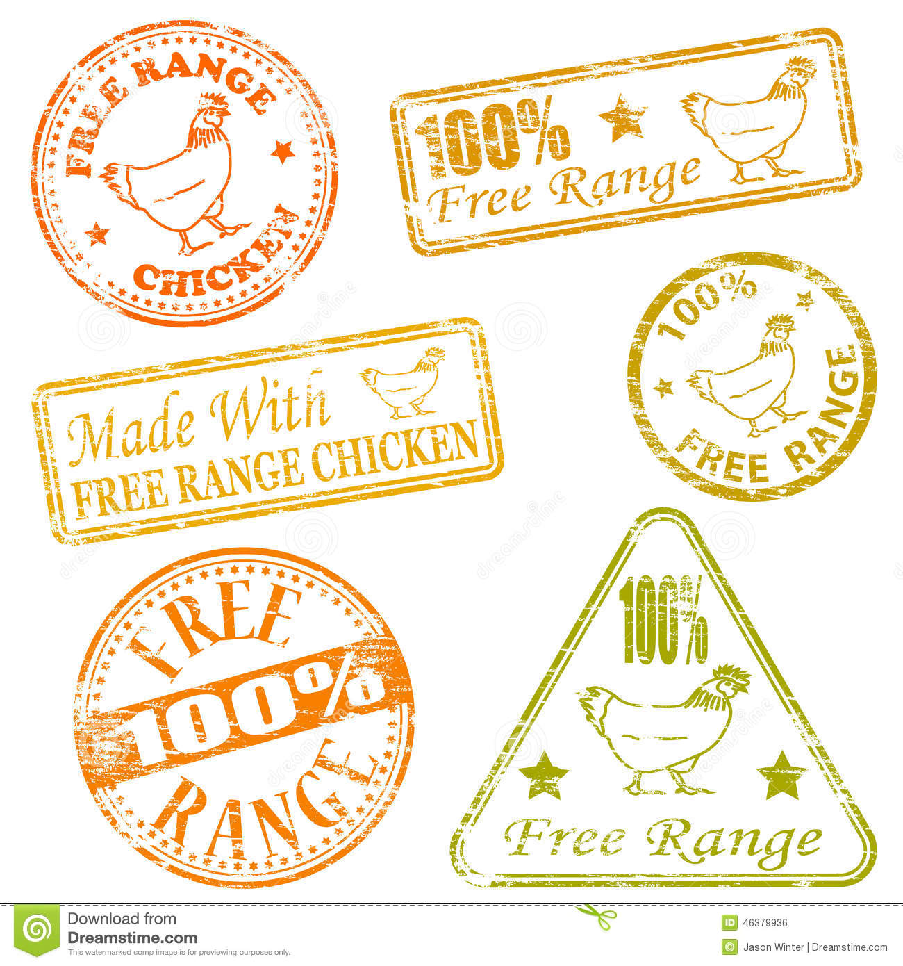 Made With Free Range Chicken Rubber Stamp Vector Illustrations