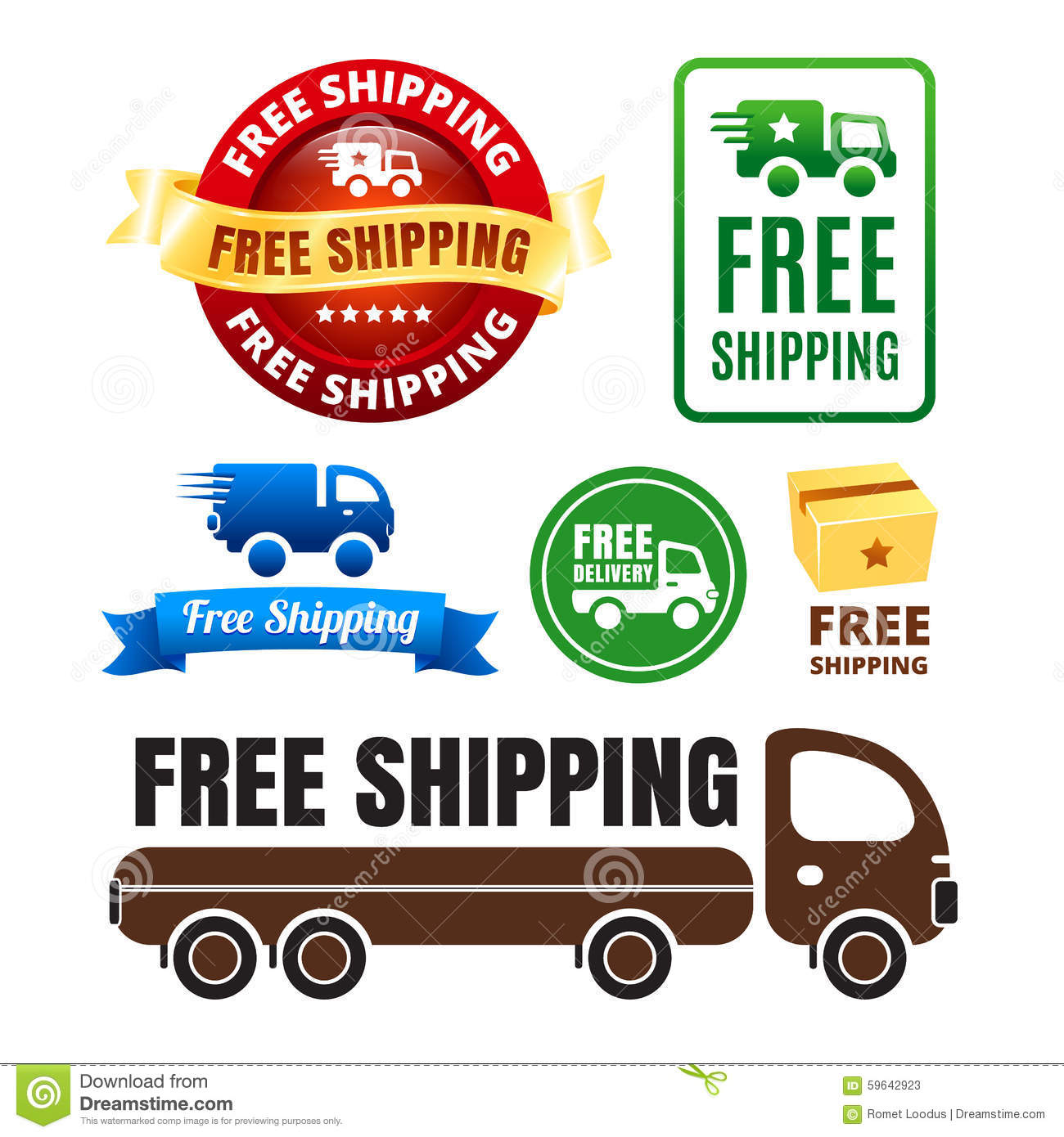 Free Shipping Delivery Truck Brown Royalty-Free Stock Photo | CartoonDealer.com #14909475  Free Shipping D...