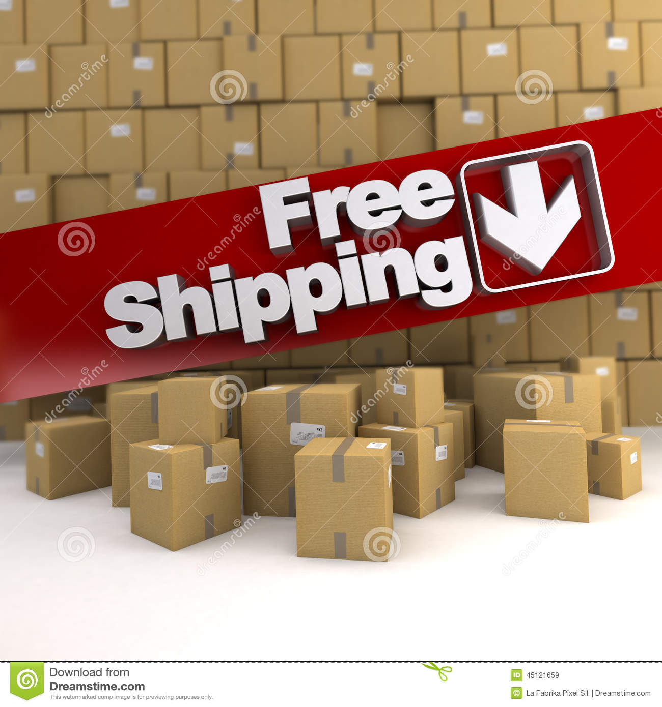 Download Free shipping, box wall stock illustration. Illustration of shop - 45121659