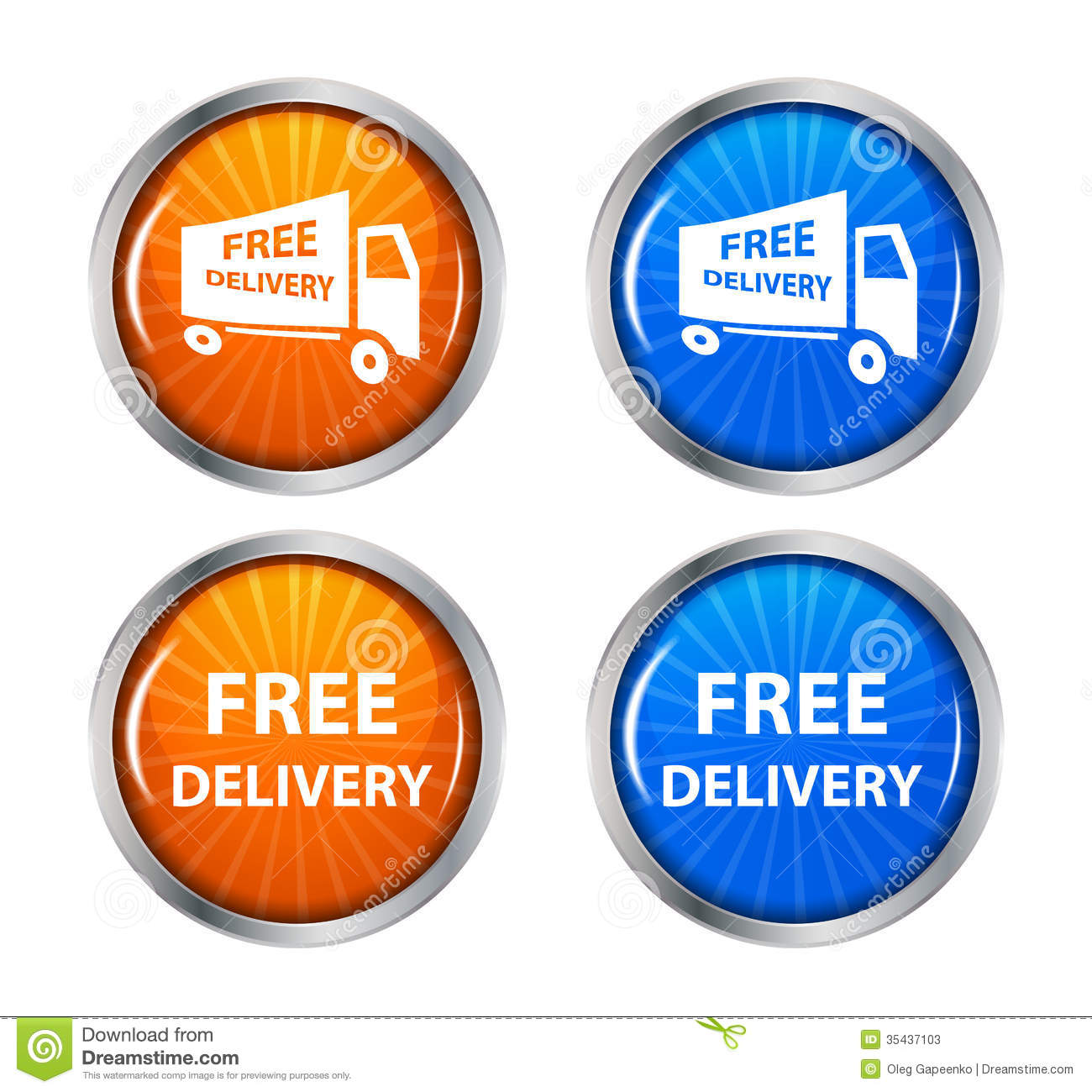 Shipping Delivery: Free Shipping, Delivery Icon Set. Vector Stock Photos