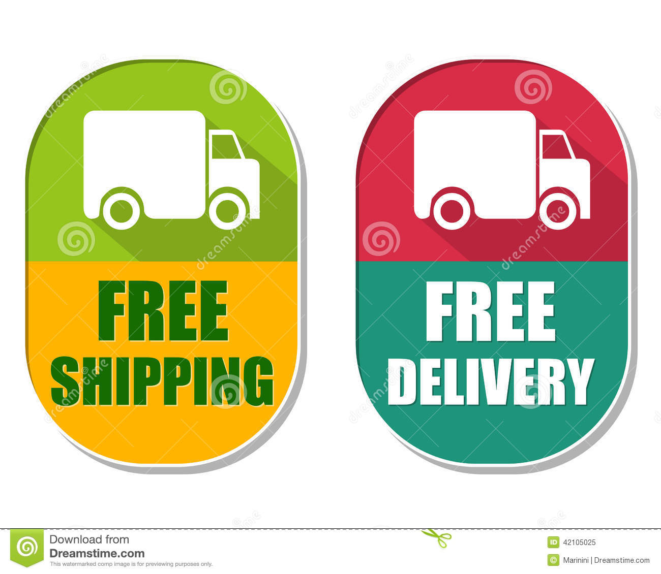 Shipping Delivery: Free Shipping And Delivery With Truck Sign, Two Elliptical